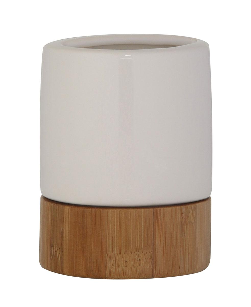 Стакан для зубных щеток Axentia Bonja Premium, цвет: белый, бук122329Коллекция Bonja Premium - это сочетание экологически чистого бамбука, устойчивого к высокой влажности и элегантной натуральной и изящной белой керамики. Отлично сочетается с другими аксессуарами из коллекции Bonja Premium.