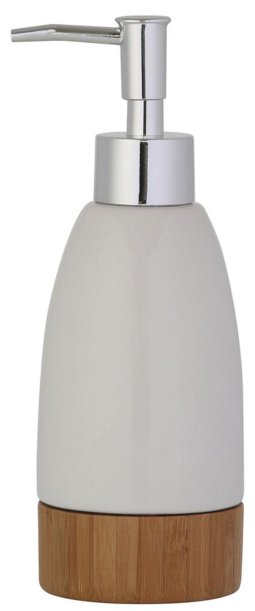 Дозатор для жидкого мыла Axentia Bonja Premium, цвет: белый, бук122330Коллекция Bonja Premium - это сочетание экологически чистого бамбука, устойчивого к высокой влажности и элегантной натуральной и изящной белой керамики. Отлично сочетается с другими аксессуарами из коллекции Bonja Premium.