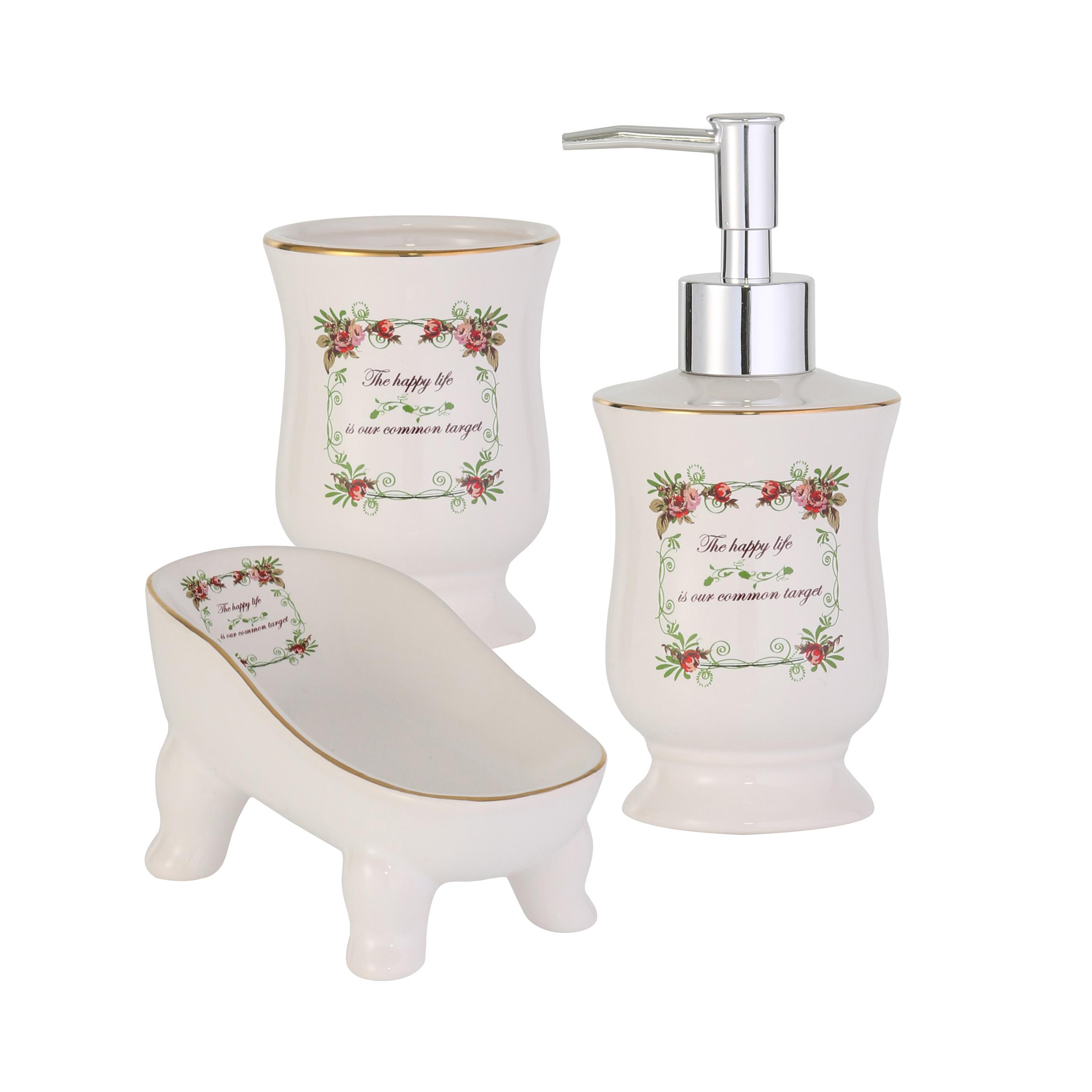 Набор для ванной комнаты Axentia, 3 предмета122125Набор для ванной комнаты Axentia, выполненный из натуральной и элегантной керамики, состоит из стакана для зубных щеток, дозатора для жидкого мыла и мыльницы. Изделия декорированы оригинальным принтом в стиле Прованс. Аксессуары, входящие в набор Axentia, выполняют не только практическую, но и декоративную функцию. Они способны внести в помещение изысканность, сделать пребывание в нем приятным и даже незабываемым.