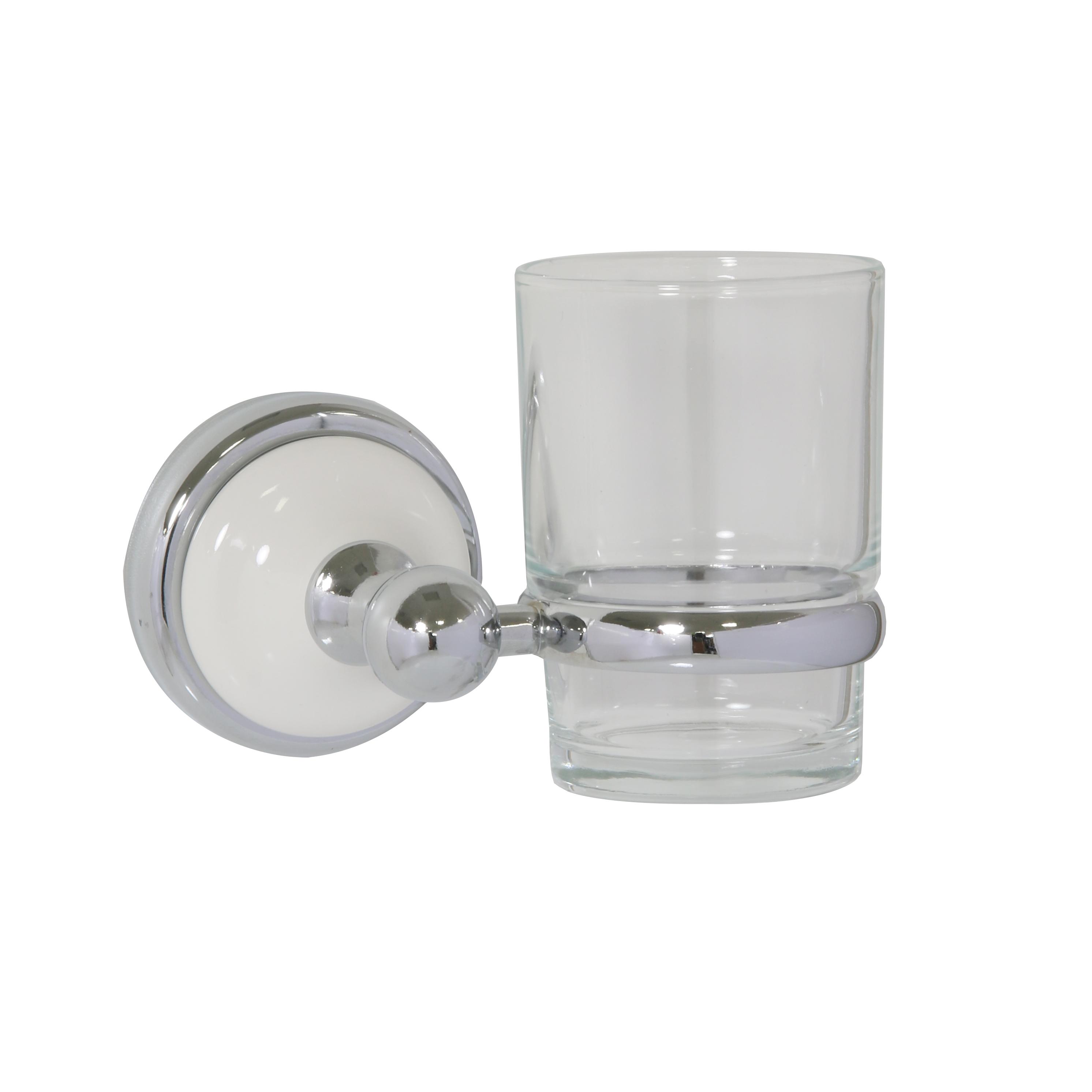 Стакан для зубных щеток Axentia Lyon Premium122448Стакан для зубных щеток Axentia Lyon Premium выполнен из нержавеющей стали покрытой цинком с колпачком из белой керамики. Крепится на шурупах (в комплекте). Изделие превосходно дополнит интерьер ванной комнаты.