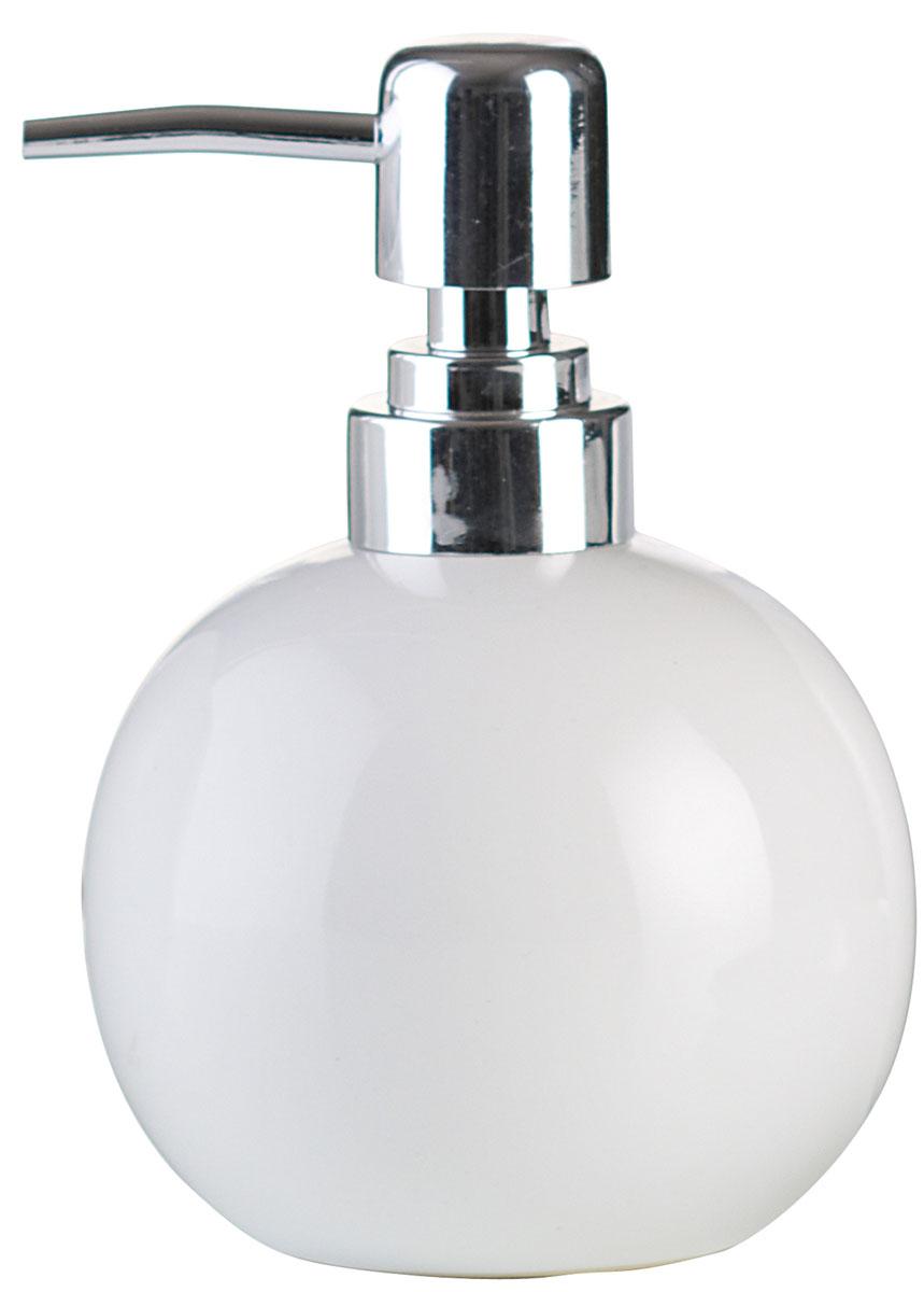 Дозатор для жидкого мыла Axentia Leandr, цвет: белый282412Изготовлен из натуральной и элегантной керамики белого цвета. Отлично сочетается с другими аксессуарами из коллекции Leandr.