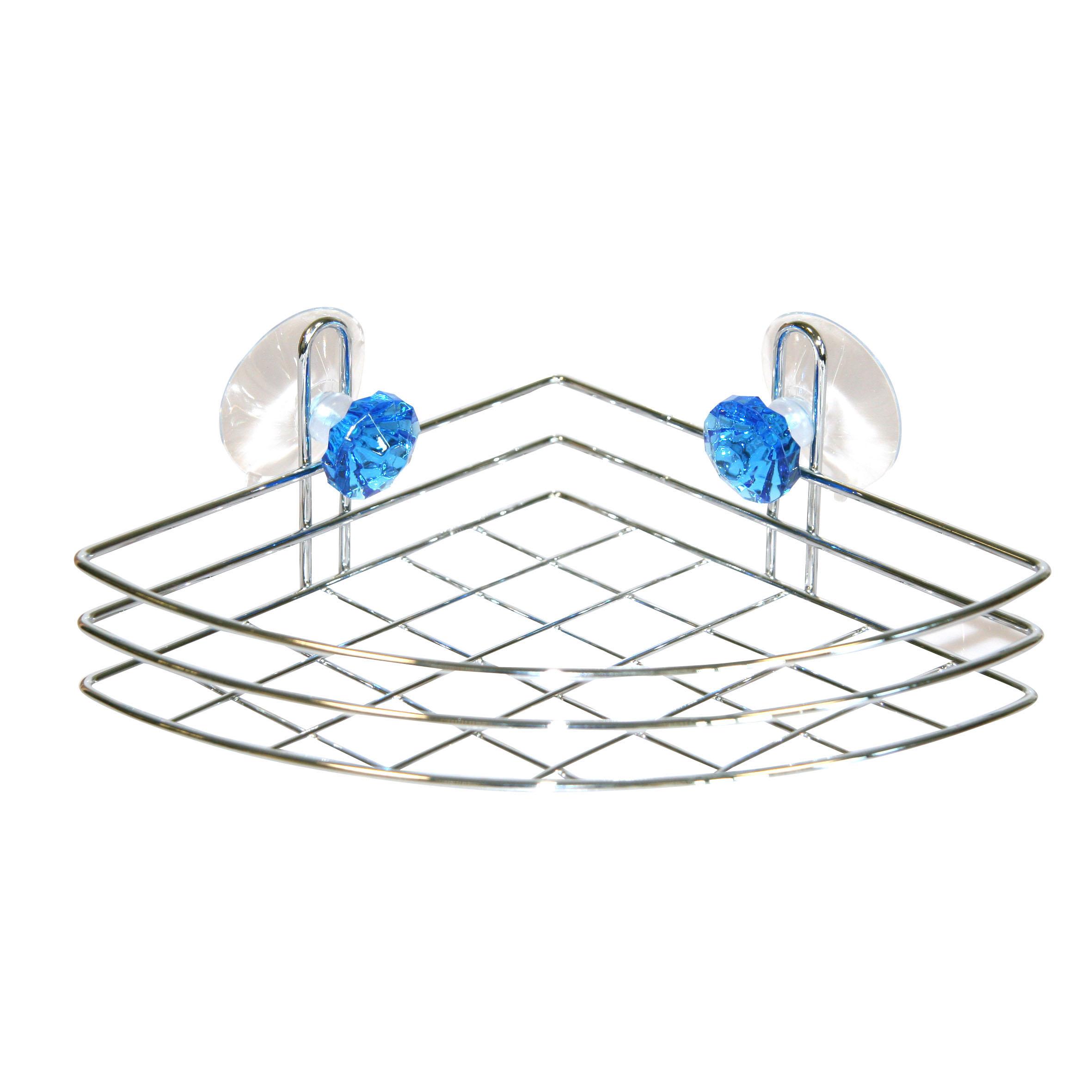 Полка для ванной Top Star Kristall, угловая, одноярусная, 18 х 18 х 6,5 см280883Трехъярусная полка для ванной Top Star Kristall изготовлена из стали с качественным хромированным покрытием, которое на долго защитит изделие от ржавчины в условиях высокой влажности в ванной комнате. Изделие имеет угловую конструкцию и крепится на присосках (входят в комплект). Классический дизайн и оптимальная вместимость подойдет для любого интерьера ванной комнаты или кухни.