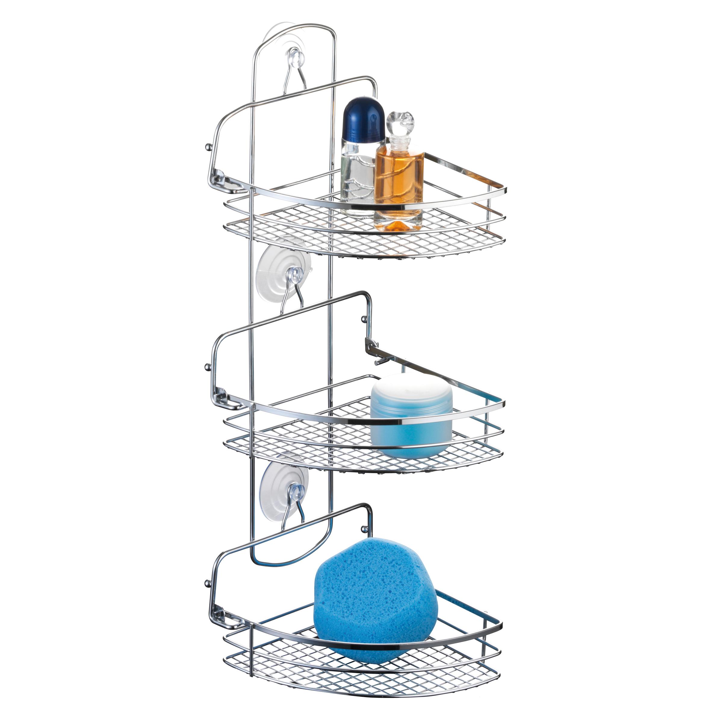Полка для ванной Axentia Cassandra, угловая, трехъярусная, 20 х 27 х 57 см280871Трехъярусная полка для ванной Axentia Cassandra изготовлена из стали с качественным хромированным покрытием, которое на долго защитит изделие от ржавчины в условиях высокой влажности в ванной комнате. Изделие имеет угловую конструкцию и два вида крепления: на присосках или на шурупах (входят в комплект). Классический дизайн и оптимальная вместимость подойдет для любого интерьера ванной комнаты или кухни.