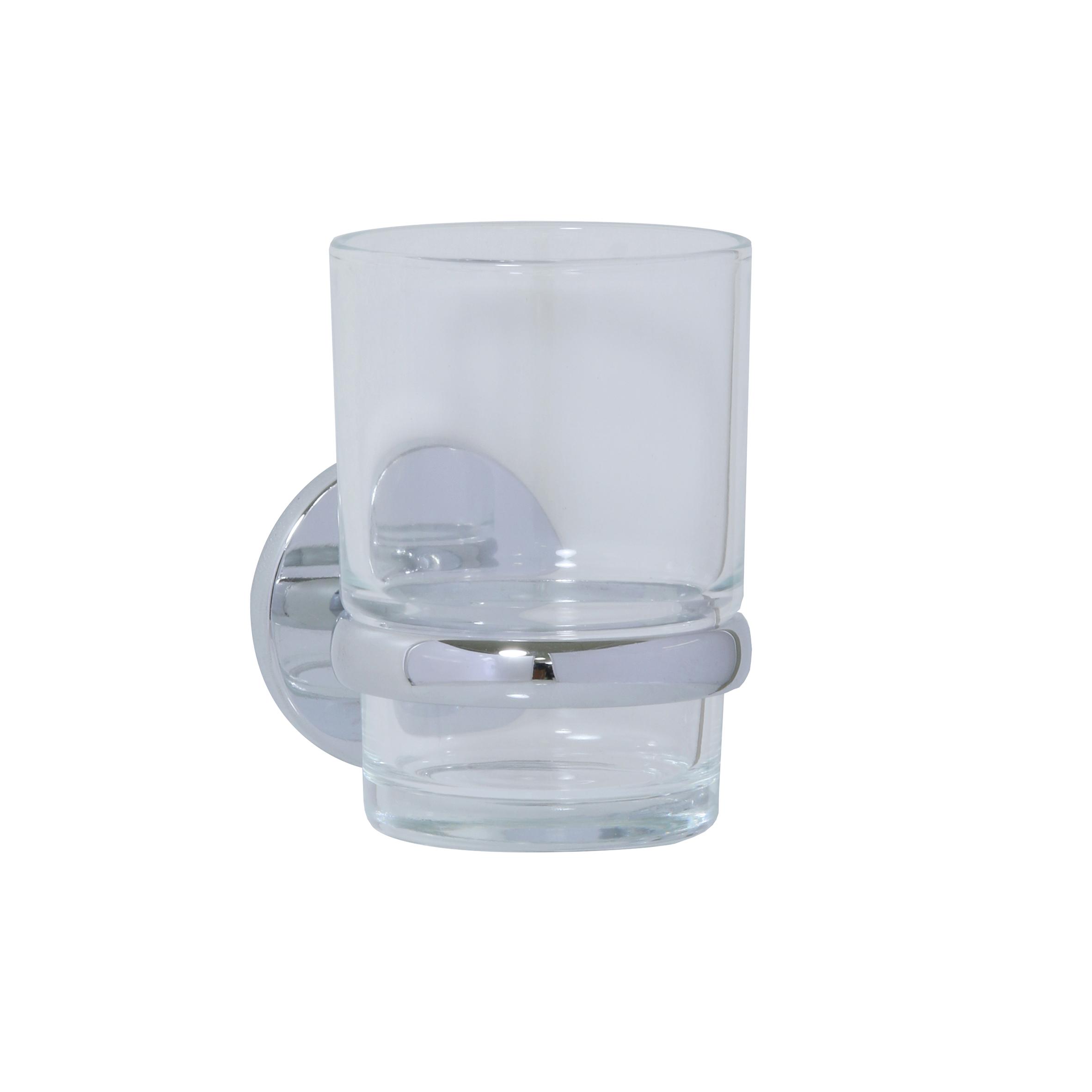Стакан для ванной Axentia Capri, настенный, цвет: хром, белый122438Стакан для ванной настенный, скрытое крепление на шурупах, в комплекте. Изготовлена из матового стекла и стали с качественным хромированным покрытием, которое на долго защитит изделие от ржавчины в условиях высокой влажности в ванной комнате. Отлично сочетается с другими аксессуарами из коллекции Capri.