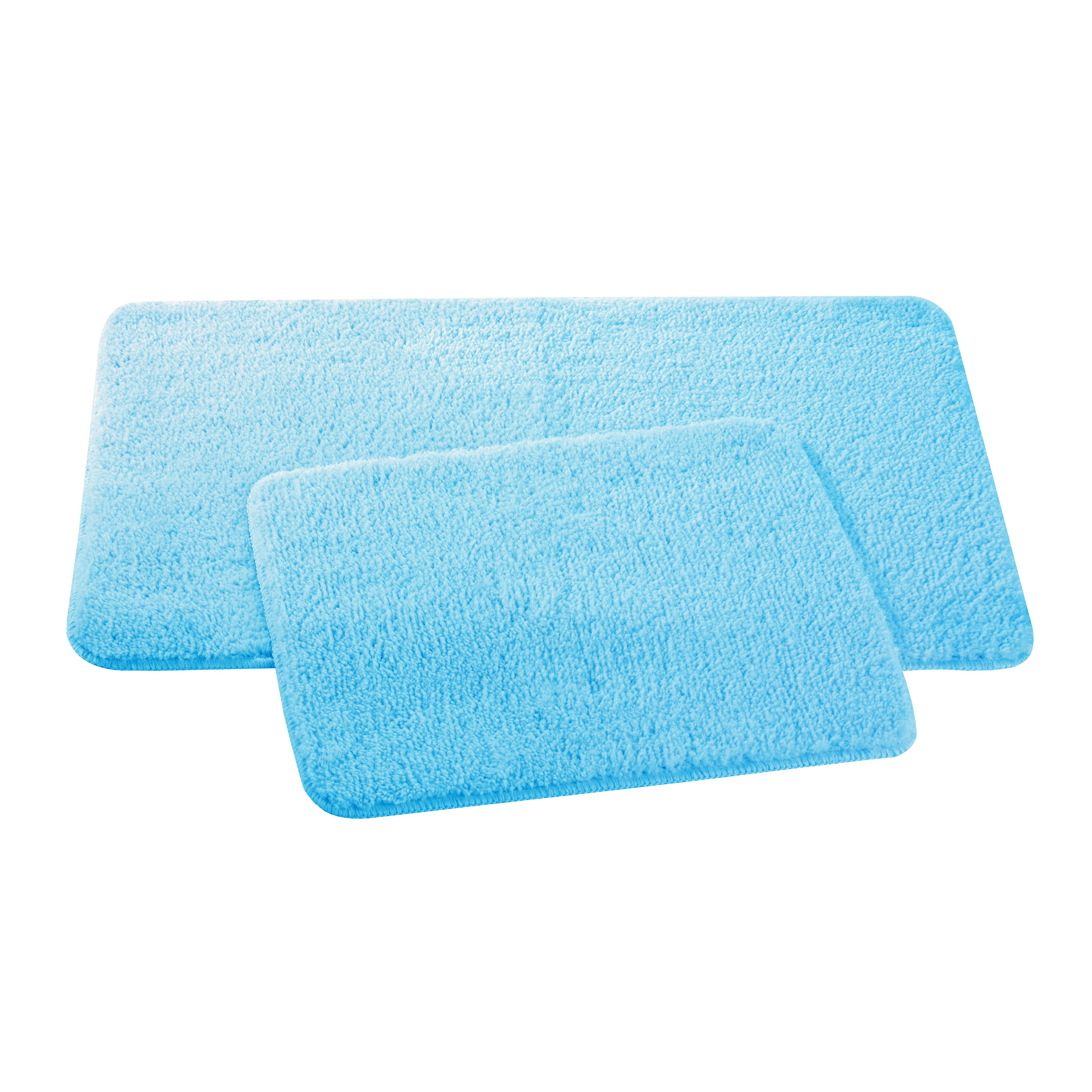 Набор ковриков для ванной и туалета Axentia, цвет: бирюзовый, 50 х 80 см, 50 х 40 см, 2 шт116137Набор из двух ковриков для ванной комнаты и туалета из микрофибры, 50х80 и 50х40 см. Высота ворса 1,5 см, стеганный. Противоскользящее основание изготовлено из термопластичной резины и подходит для полов с подогревом. Коврик мягкий и приятный на ощупь, отлично впитывает влагу и быстро сохнет. Можно стирать в стиральной машине. Высокая износостойкость коврика и стойкость цвета позволит вам наслаждаться покупкой долгие годы. Широкая гамма расцветок ковриков Axentia удовлетворит самый притязательный вкус.