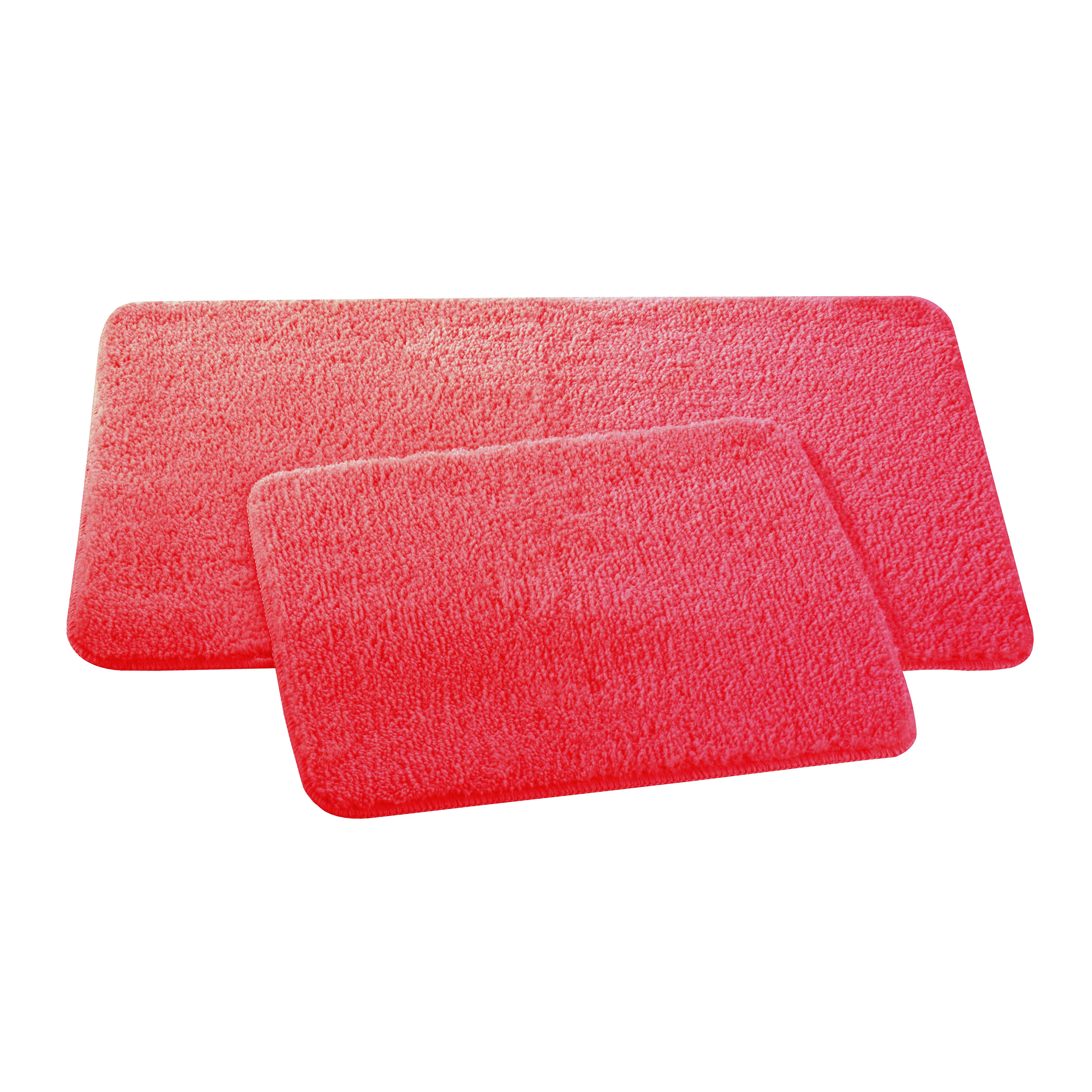 Набор ковриков для ванной и туалета Axentia, цвет: красный, 50 х 80 см, 50 х 40 см, 2 шт116138Набор из двух ковриков для ванной комнаты и туалета из микрофибры, 50х80 и 50х40 см. Высота ворса 1,5 см, стеганный. Противоскользящее основание изготовлено из термопластичной резины и подходит для полов с подогревом. Коврик мягкий и приятный на ощупь, отлично впитывает влагу и быстро сохнет. Можно стирать в стиральной машине. Высокая износостойкость коврика и стойкость цвета позволит вам наслаждаться покупкой долгие годы. Широкая гамма расцветок ковриков Axentia удовлетворит самый притязательный вкус.