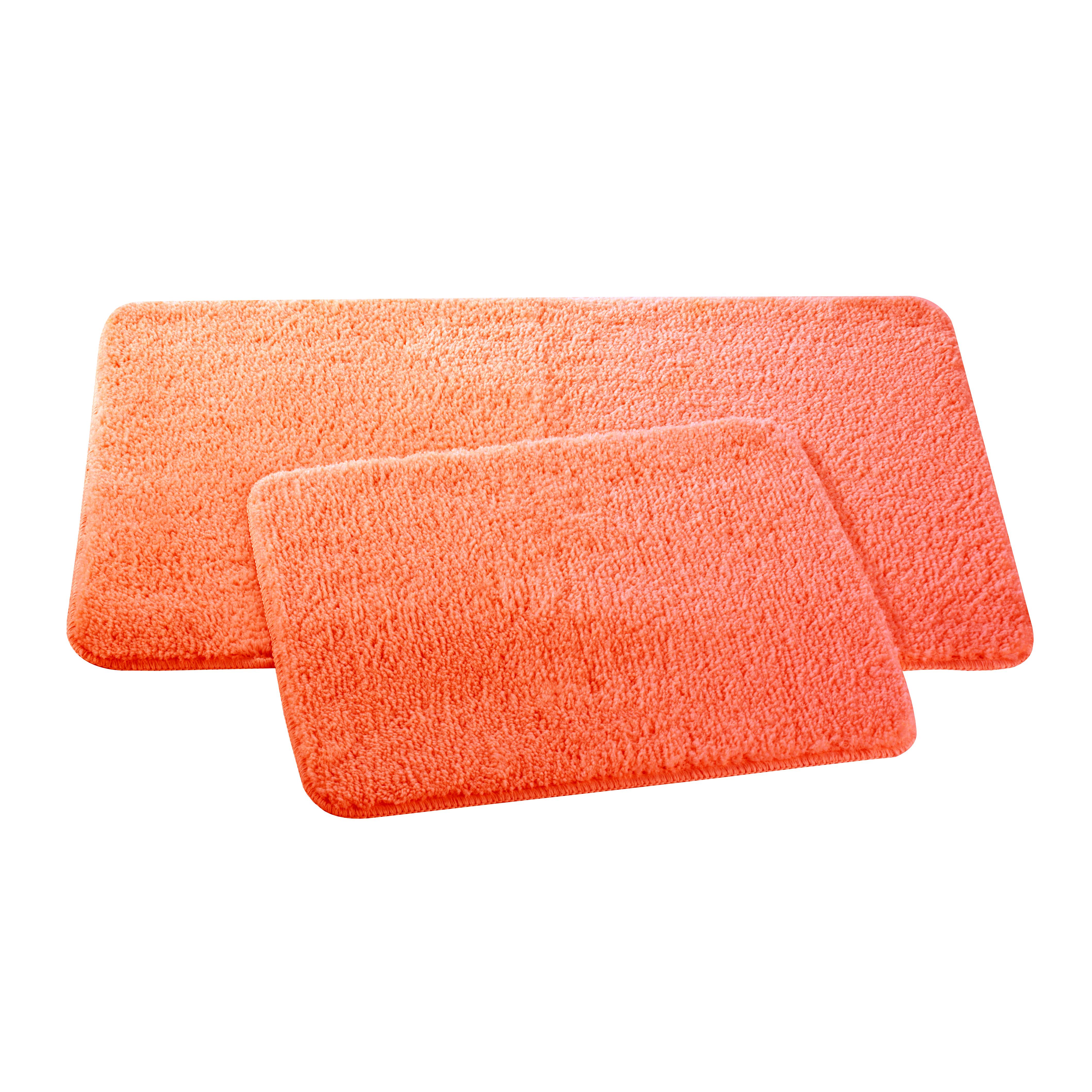 Набор ковриков для ванной и туалета Axentia, цвет: оранжевый, 2 шт116136Набор Axentia, выполненный из микрофибры (100% полиэстер), состоит из двух стеганых ковриков для ванной комнаты и туалета. Противоскользящее основание изготовлено из термопластичной резины и подходит для полов с подогревом. Коврики мягкие и приятные на ощупь, отлично впитывают влагу и быстро сохнут. Высокая износостойкость ковриков и стойкость цвета позволит вам наслаждаться покупкой долгие годы. Можно стирать в стиральной машине. Размер ковриков: 50 х 80 см; 50 х 40 см. Высота ворса 1,5 см.