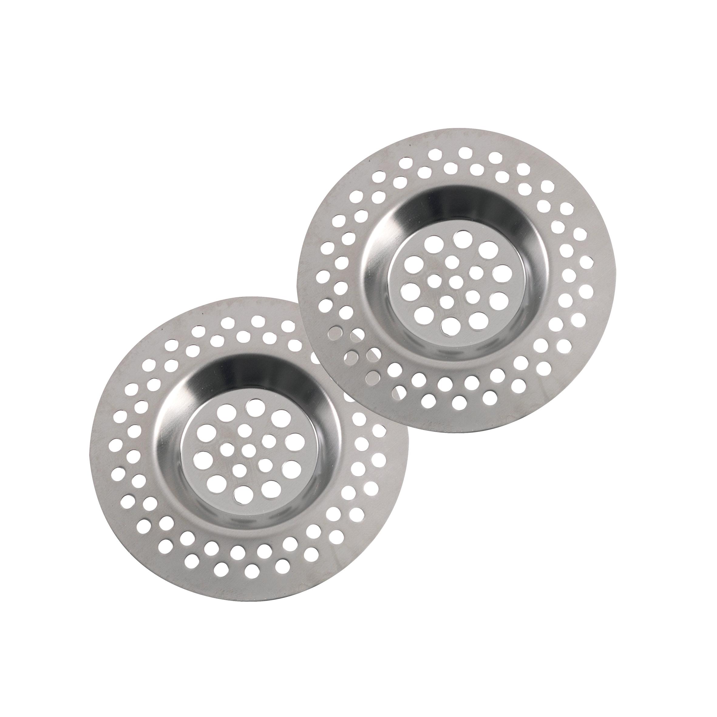 Фильтр для раковины Axentia, диаметр 7 см, 2 шт290088Набор Axentia состоит из двух фильтров для раковины. Изделия, выполненные из нержавеющей стали, используются для улавливания нечистот в раковинах и ванных, предотвращают забивание канализационных труб остатками еды. Фильтры имеют специальные углубления для раковины. Изделия помогут предотвратить засорение вашей раковины. Диаметр фильтра: 7 см.