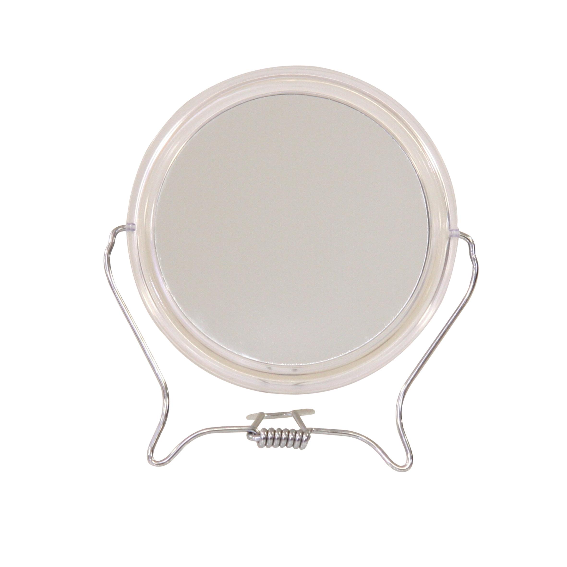 Зеркало косметическое Top Star, настольное, диаметр 12,5 см291477Настольное косметическое зеркало Top Star идеально подходит для нанесения макияжа и совершения различных косметических процедур. Обрамлено в пластиковый ободок, с подставкой из стальной проволоки покрытой хромом. Двухстороннее зеркало с трехкратным увеличением одной из зеркальных линз поможет разглядеть даже малейшие нюансы и устранить все недостатки кожи. Яркий и стильный дизайн делает зеркало отличным подарком родным и близким, оно будет прекрасно смотреться в любом интерьере.