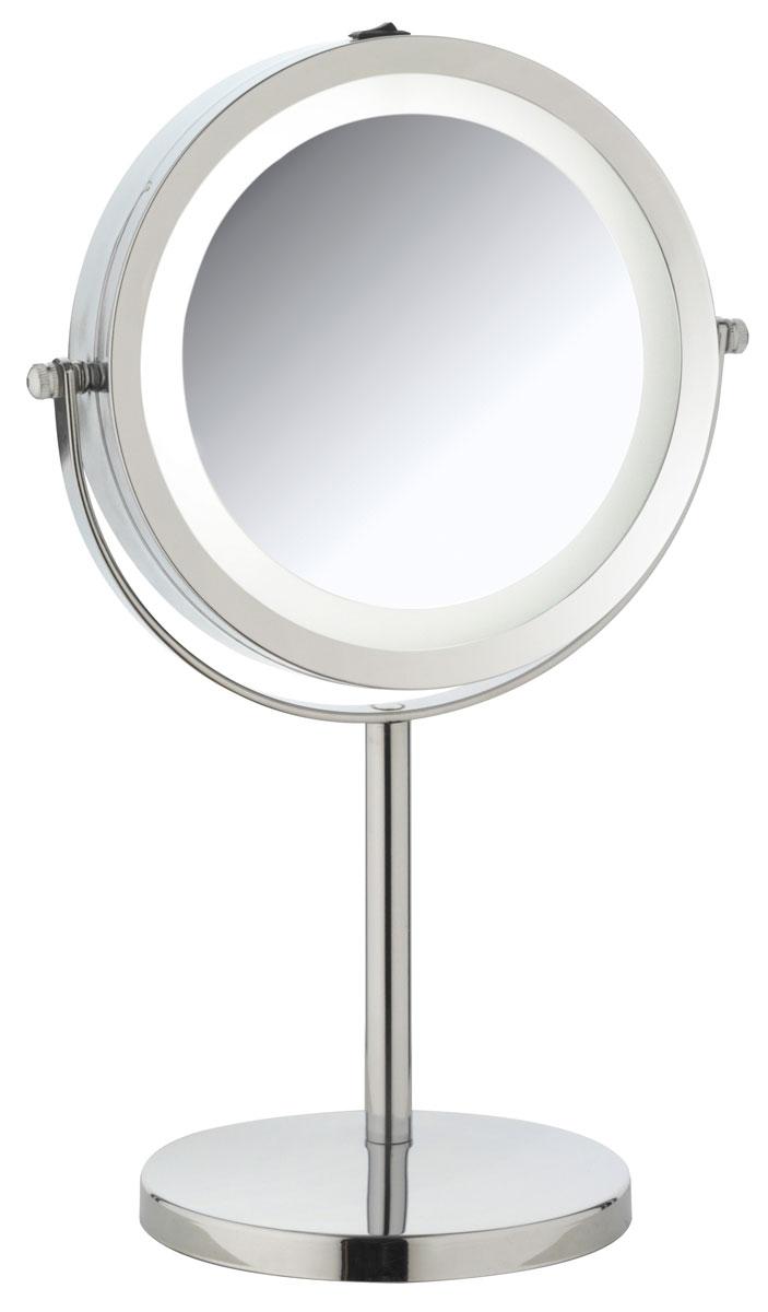 Зеркало косметическое Axentia, настольное, с подсветкой, диаметр 17 см282805Двухстороннее косметическое зеркало Axentia со светодиодной подсветкой и трехкратным увеличением с одной из сторон идеально подойдет для косметических процедур, нанесения и снятия макияжа, коррекции бровей и многого другого. Изделие имеет настольную конструкцию. Компактные размеры и возможность разворота на 360 градусов создаст дополнительный комфорт при использовании данного аксессуара. Работает на элементах питания типа ААА, 4 штуки (в комплект не входят). Диаметр зеркала: 17 см. Высота: 28,5 см.