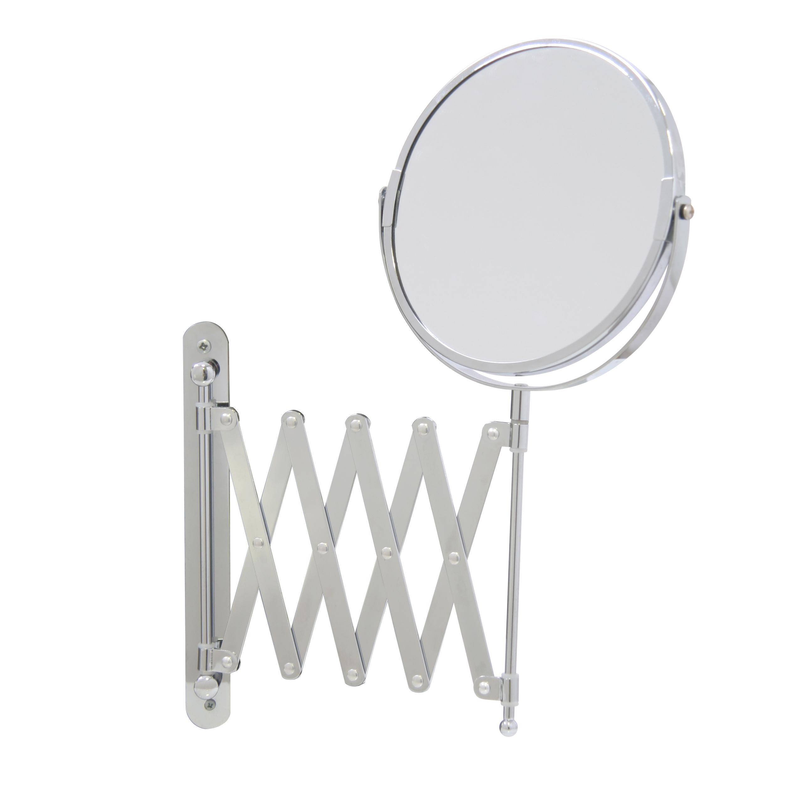 Зеркало косметическое Axentia, настенное, на вытягивающейся ручке, диаметр 17 см282802Двухстороннее косметическое зеркало Axentia с трехкратным увеличением с одной из сторон оснащено ручкой, которая вытягивается на 57 cм. Изделие идеально подойдет для косметических процедур, нанесения и снятия макияжа, коррекции бровей и многого другого. Компактные размеры и возможность разворота на 360 градусов создаст дополнительный комфорт при использовании данного аксессуара. Изделие крепится на стену с помощью шурупов (не входят в комплект). Диаметр зеркала: 17 см. Выдвижение ручки на 57 см.