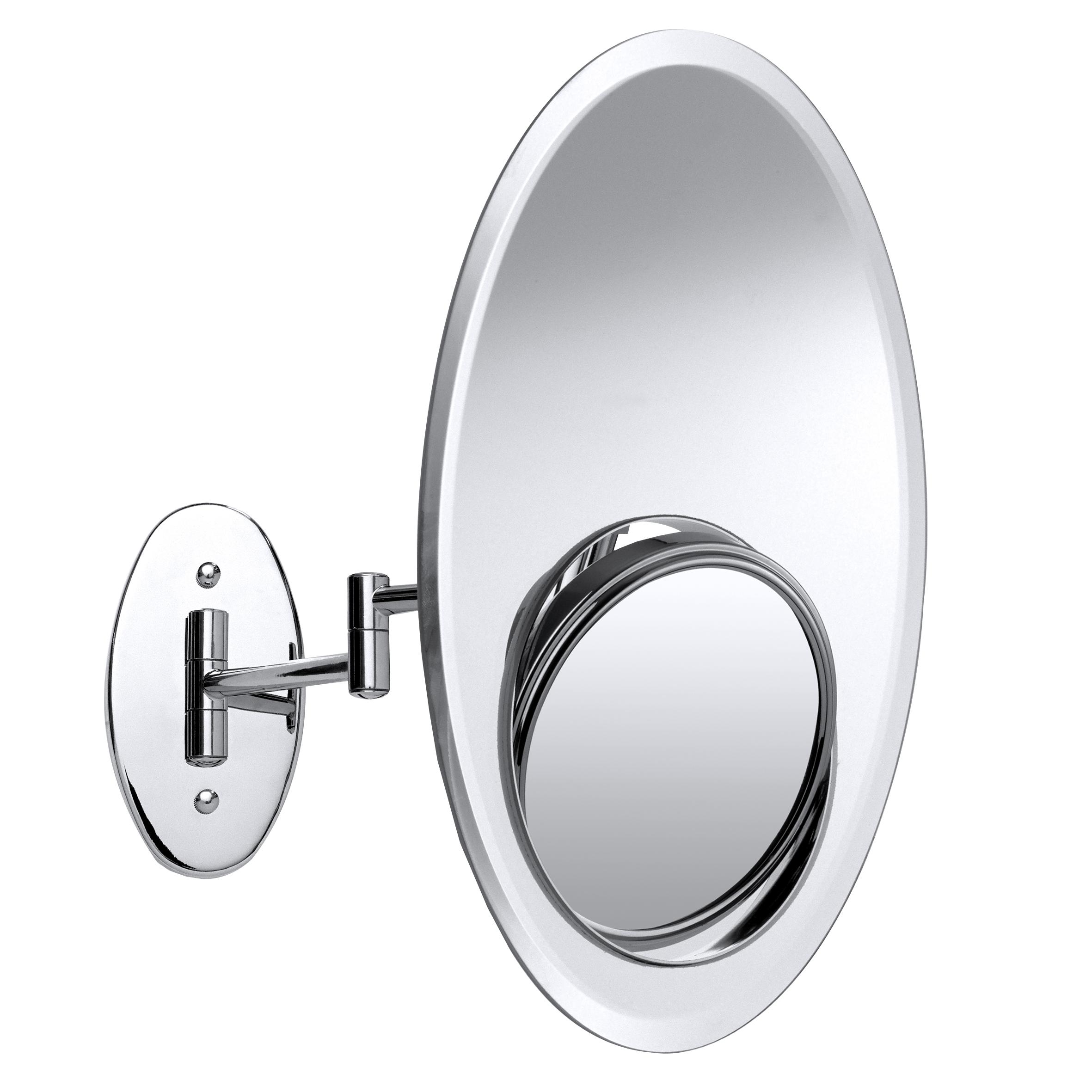 Зеркало косметическое Axentia, настенное, диаметр 12,5 см282808Настенное косметическое зеркало 3 в 1 Axentia, изготовленное из стали и стекла, идеально подходит для нанесения макияжа и совершения различных косметических процедур. Изделие овальной формы имеет встроенное двухстороннее зеркало. Зеркало с регулируемым углом наклона позволит вам установить его так, как это удобно вам, а увеличение в 2 и в 8 раз на каждой из сторон поможет разглядеть даже малейшие нюансы и устранить все недостатки кожи. Возможность использовать 3 типа зеркала создаст дополнительный комфорт при использовании данного аксессуара. Изделие крепится на стену с помощью шурупов (в комплекте). Яркий и стильный дизайн зеркала делает его отличным подарком родным и близким, оно будет прекрасно смотреться в любом интерьере. Размер овального зеркала: 30 см х 20 см. Диаметр круглого зеркала: 12,5 см. Высота: 35 см.