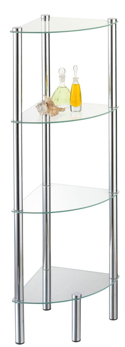 Стойка для ванной Axentia, 4-ярусная, угловая282134Стойка Axentia с 4 стеклянными полками выполнена из стали и предназначена для хранения различных предметов в ванной комнате. Очень удобная и компактная, но в тоже время вместительная, она прекрасно впишется в пространство ванной.