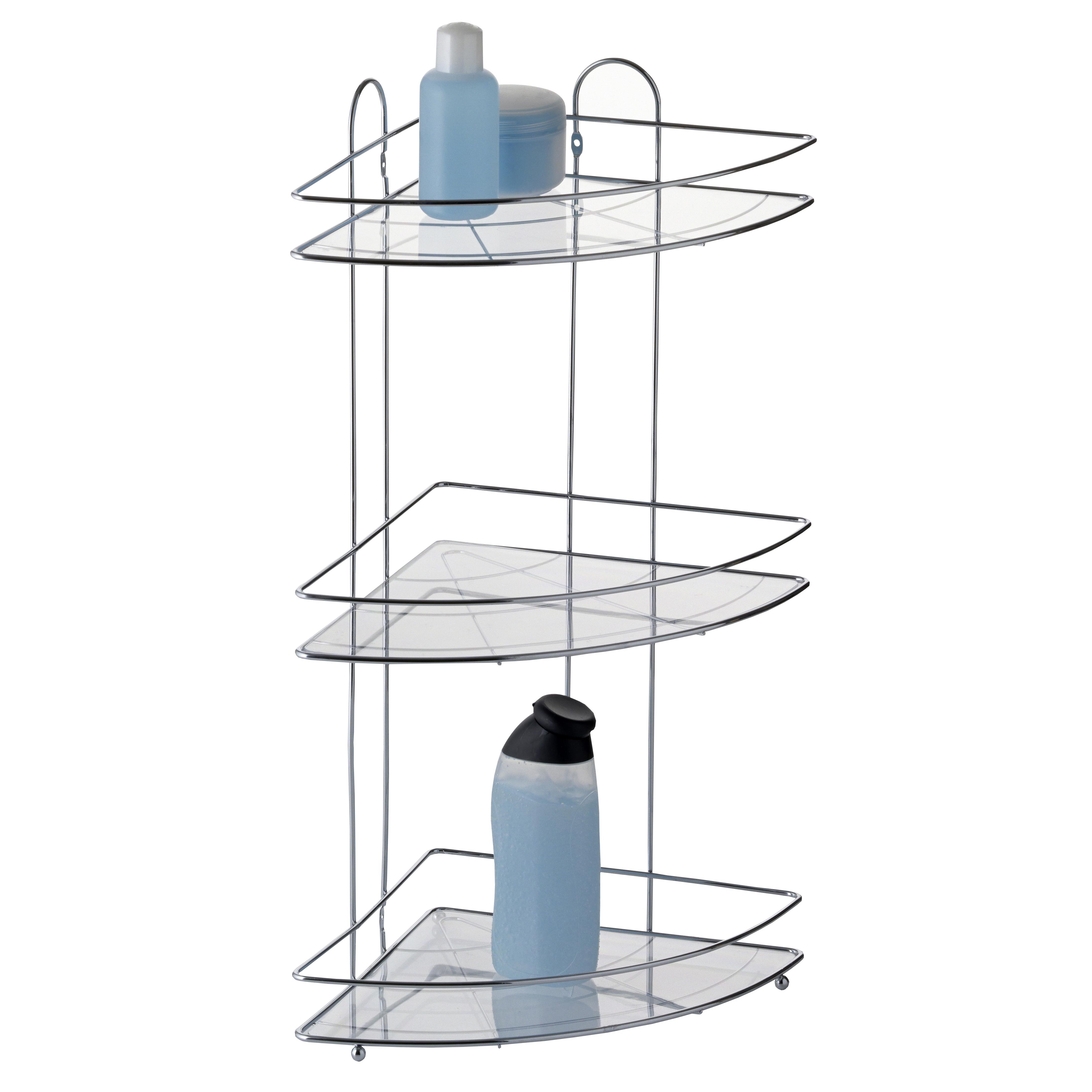 Полка для ванной Axentia, угловая, трехъярусная, 22,5 х 22,5 х 58,5 см282057Трехъярусная полка для ванной Axentia изготовлена из стали с качественным хромированным покрытием, которое на долго защитит изделие от ржавчины в условиях высокой влажности в ванной комнате. Изделие имеет угловую конструкцию и крепится на шурупах (входят в комплект). Классический дизайн и оптимальная вместимость подойдет для любого интерьера ванной комнаты или кухни.