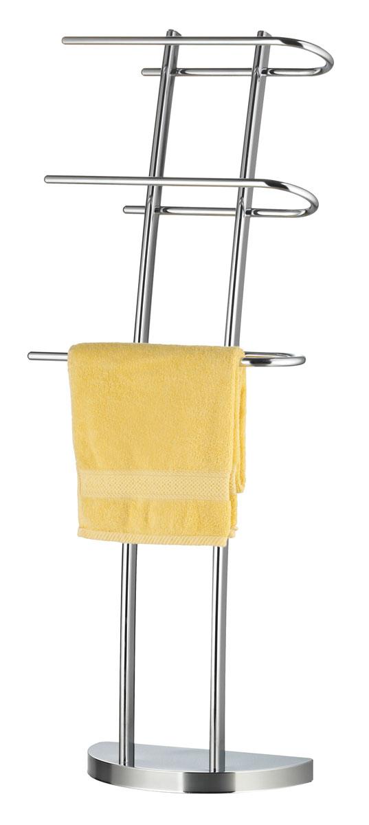 Вешалка для полотенец Axentia, напольная, с 3 планками, 38 х 21 х 105 см282165Напольная вешалка для полотенец Axentia изготовлена из высококачественной хромированной стали, устойчивой к коррозии в условиях высокой влажности в ванной комнате. Изделие оснащено тремя вращающими планками и утяжеленным основанием в виде полукруга для удобства размещения и лучшей устойчивости. Размер вешалки: 38 х 21 х 105 см.