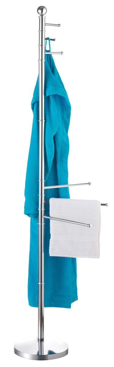 Вешалка для ванной Axentia, напольная, 35 х 25 х 177 см282188Напольная вешалка для ванной комнаты Axentia изготовлена из высококачественной хромированной стали, устойчивой к коррозии в условиях высокой влажности. Вешалка оснащена утяжеленным основанием для лучшей устойчивости. Изделие имеет три поворотные крючка для халатов и три поворотные планки для полотенец. Размер вешалки: 35 х 25 х 177 см.