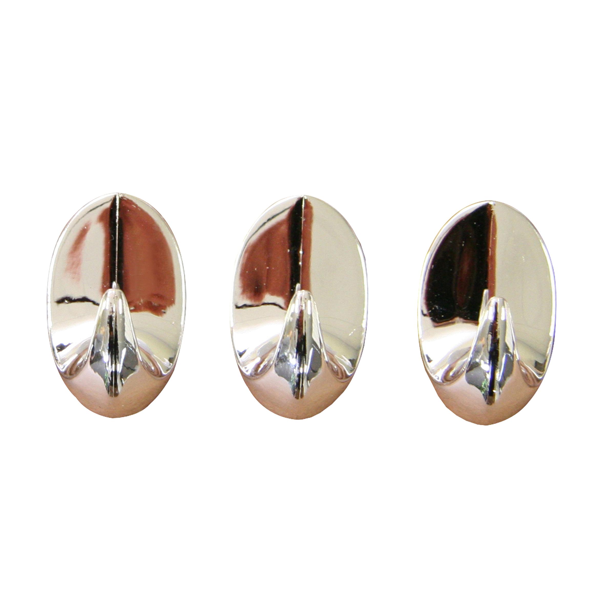 Крючок настенный Axentia, самоклеющийся, 3 шт202301Настенный крючок Axentia, изготовленный из хромированного пластика, подходит как для ванной комнаты, так и для кухни или прихожей. Приклеивается на гладкую очищенную и обезжиренную поверхность. Изделие идеально дополнит и подчеркнет ваш интерьер. Размер крючка: 3 х 3 х 4 см.
