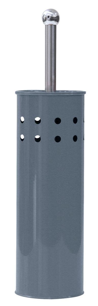 Гарнитур для туалета Axentia, цвет: серый282232Гарнитур для туалета Axentia выполнен в виде цилиндра из нержавеющей стали с декоративными отверстиями по верхней части окружности, с серым стойким порошковым напылением. Высота 38,5 см. Внутри имеется пластиковый стакан для остаточной влаги. Ершик имеет ручку и крышку из нержавеющей стали и белую щетку, с жестким густым ворсом. Компактен и удобен в использовании. Изготовлен из высококачественных материалов, позволяющих прослужить гарнитуру долгие годы. Идеально сочетается с пластиковым ведром для мусора, арт. 251080