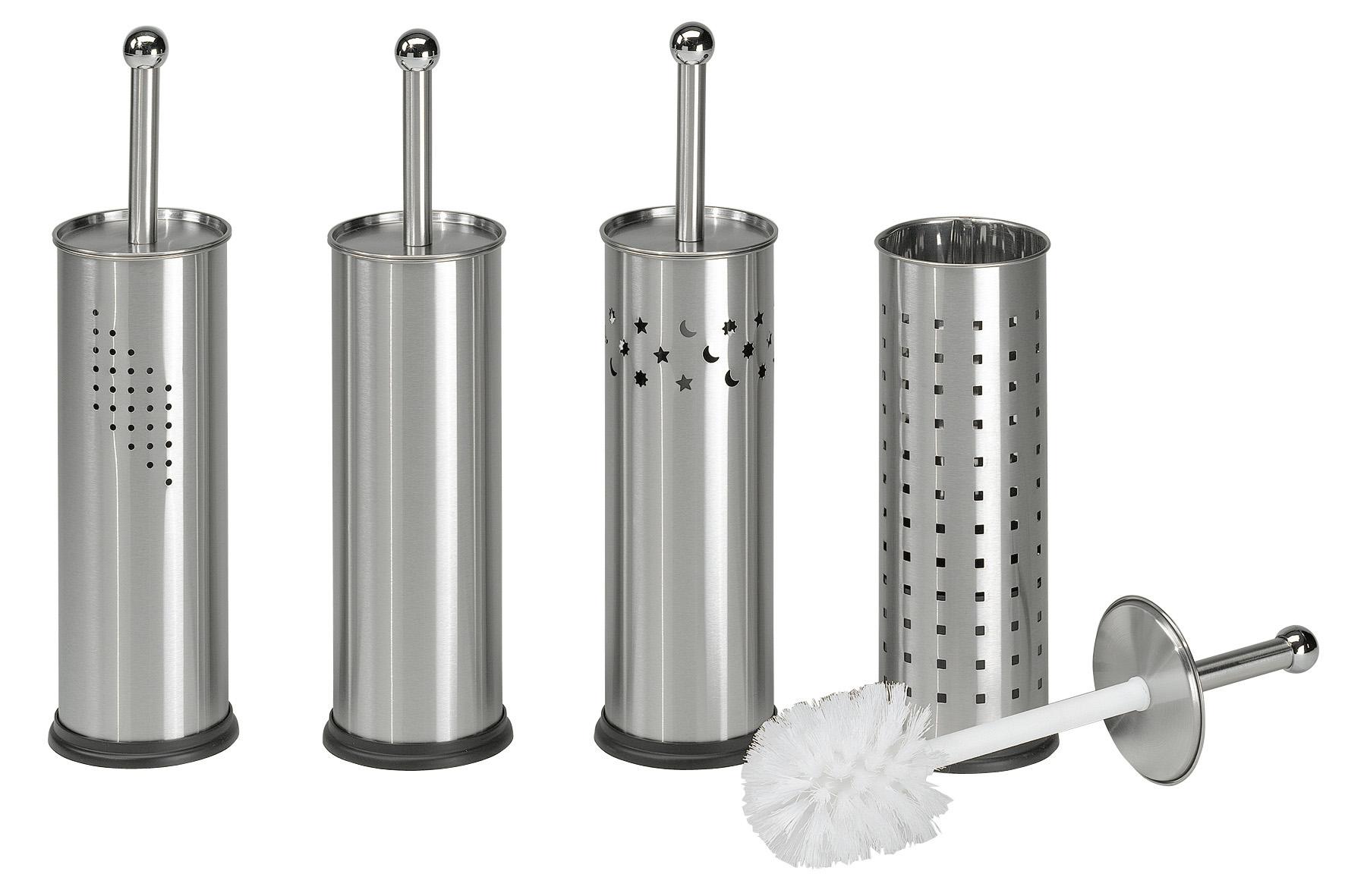 Гарнитур для туалета Axentia, цвет: серебристый120308Ершик для унитаза Axentia выполнен в виде цилиндра из нержавеющей стали в 4-х дизайнах, на ваш вкус, высотой 38 см. Внутри имеется пластиковый стакан для остаточной влаги. Ершик имеет ручку и крышку из нержавеющей стали. Белая щетка оснащена износостойким жестким и густым ворсом, отлично удаляющим загрязнения. Компактен и удобен в использовании. Изготовлен из высококачественных материалов, позволяющих прослужить изделию долгие годы.
