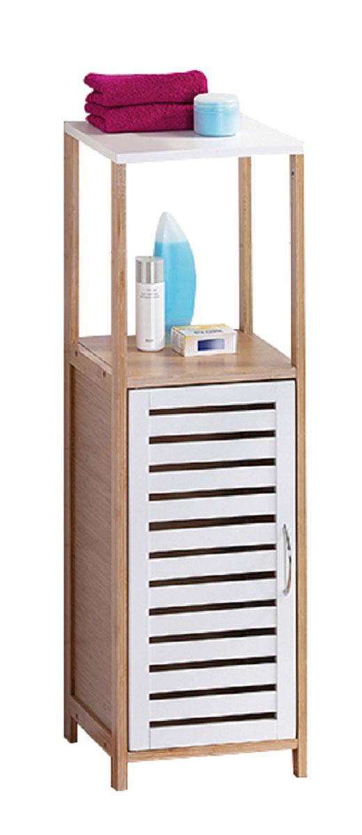 Стеллаж для ванной Axentia Bonja, с дверцей, цвет: бук, белый, 30 х 30 х 96 см117428Стеллаж для ванной комнаты с двумя полками и дверцей, высотой 96 см, удобен и прост в использовании, вместителен, при этом не занимает много места. Коллекция стильной и экологичной мебели для ванной комнаты Axentia Bonja, сочетает в себе элементы натурального бамбука и водостойкого МДФ, придаст вашей ванной комнате ощущение свежести, натурального декора и не оставит равнодушными ваших гостей. Надежная конструкция и качественные материалы позволят наслаждатся покупкой долгие годы. Поставляется в фирменной картонной упаковке с инструкцией по сборке на русском языке. Все необходимые для сборки детали в комплекте.
