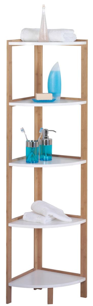 Стеллаж для ванной Axentia Bonja, угловой, 5 полок, цвет: бук, серебристый, 32 х 32 х 138 см122105Стеллаж для ванной комнаты угловой высокий, имеет 5 полок из водостойкого МДФ и каркас из натурального бамбука. Высота 138 см. Угловая конструкция позволяет занять минимум места в ванной комнате, и оставаться максимально полезным и вместительным. Коллекция стильной и экологичной мебели для ванной комнаты Axentia Bonja, сочетает в себе элементы натурального бамбука и водостойкого МДФ, придаст вашей ванной комнате ощущение свежести, натурального декора и не оставит равнодушными ваших гостей. Надежная конструкция и качественные материалы позволят наслаждается покупкой долгие годы. Поставляется в фирменной картонной упаковке с инструкцией по сборке на русском языке. Все необходимые для сборки детали в комплекте.