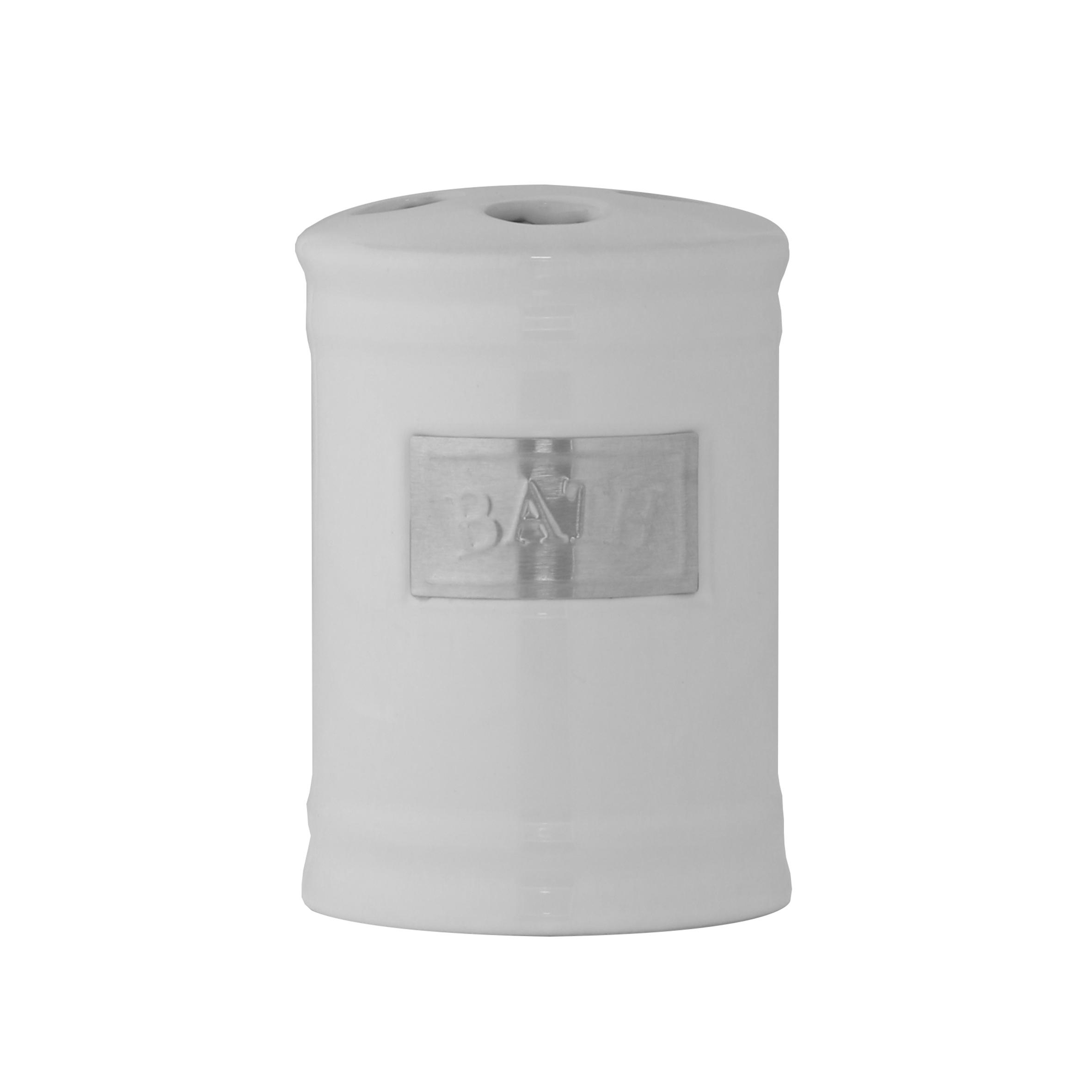 Стакан для зубных щеток Axentia Lyon, цвет: белый, серебристый122425Стакан для зубных щеток из коллекции Axentia Lyon - это сочетание белоснежной керамики с элементами из нержавеющей стали в античном стиле, подойдет для любого интерьера ванной комнаты.