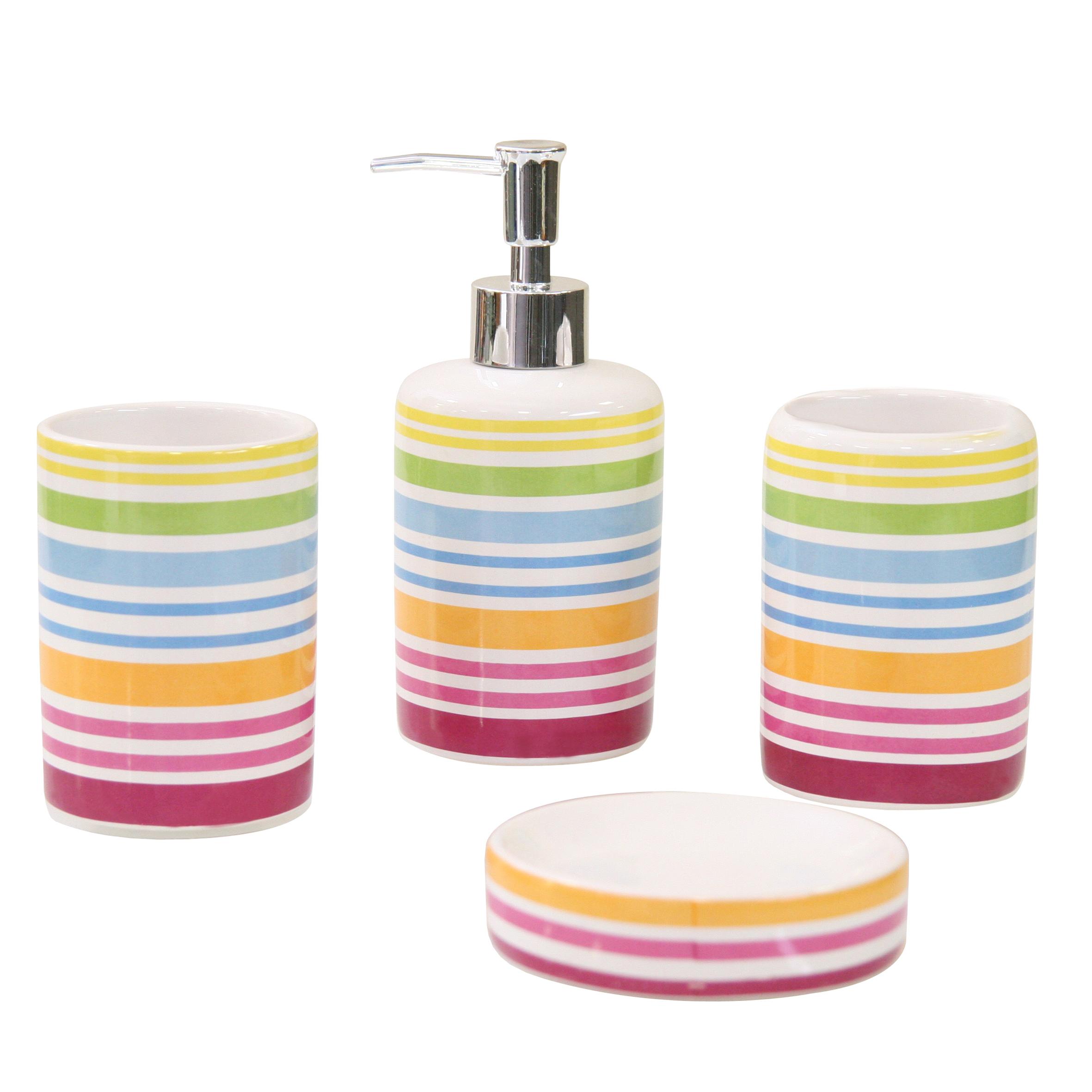 Набор для ванной комнаты Axentia Rio, 4 предмета282460Набор для ванной комнаты Axentia Rio, выполнен из натуральной и элегантной керамики, состоит из стакана для зубных щеток, дозатора для жидкого мыла и мыльницы. Изделия декорированы яркими полосками. Аксессуары, входящие в набор Axentia Rio, выполняют не только практическую, но и декоративную функцию. Они способны внести в помещение изысканность, сделать пребывание в нем приятным и даже незабываемым.