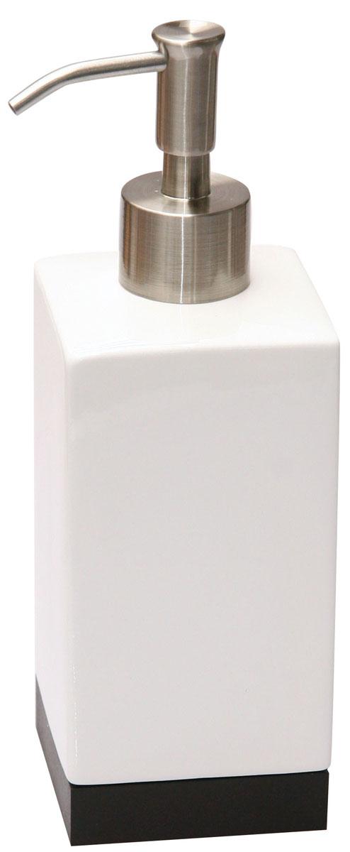 Дозатор для жидкого мыла Axentia Ginella, цвет: белый, черный, серебристый282341Дозатор для жидкого мыла из коллекции Axentia GINELLA изготавливается из керамики с элементами дерева и нержавеющей стали. Имеет благородный внешний вид, способный подчеркнуть статус хозяина дома.