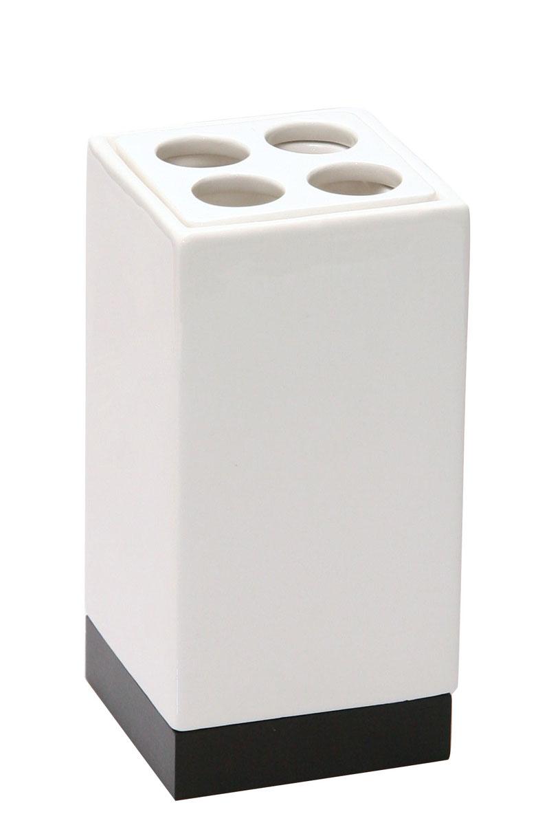 Стакан для зубных щеток Axentia Ginella282342Стакан для зубных щеток Axentia Ginella выполнен из из керамики с элементами дерева и нержавеющей стали. Изделие превосходно дополнит интерьер ванной комнаты.