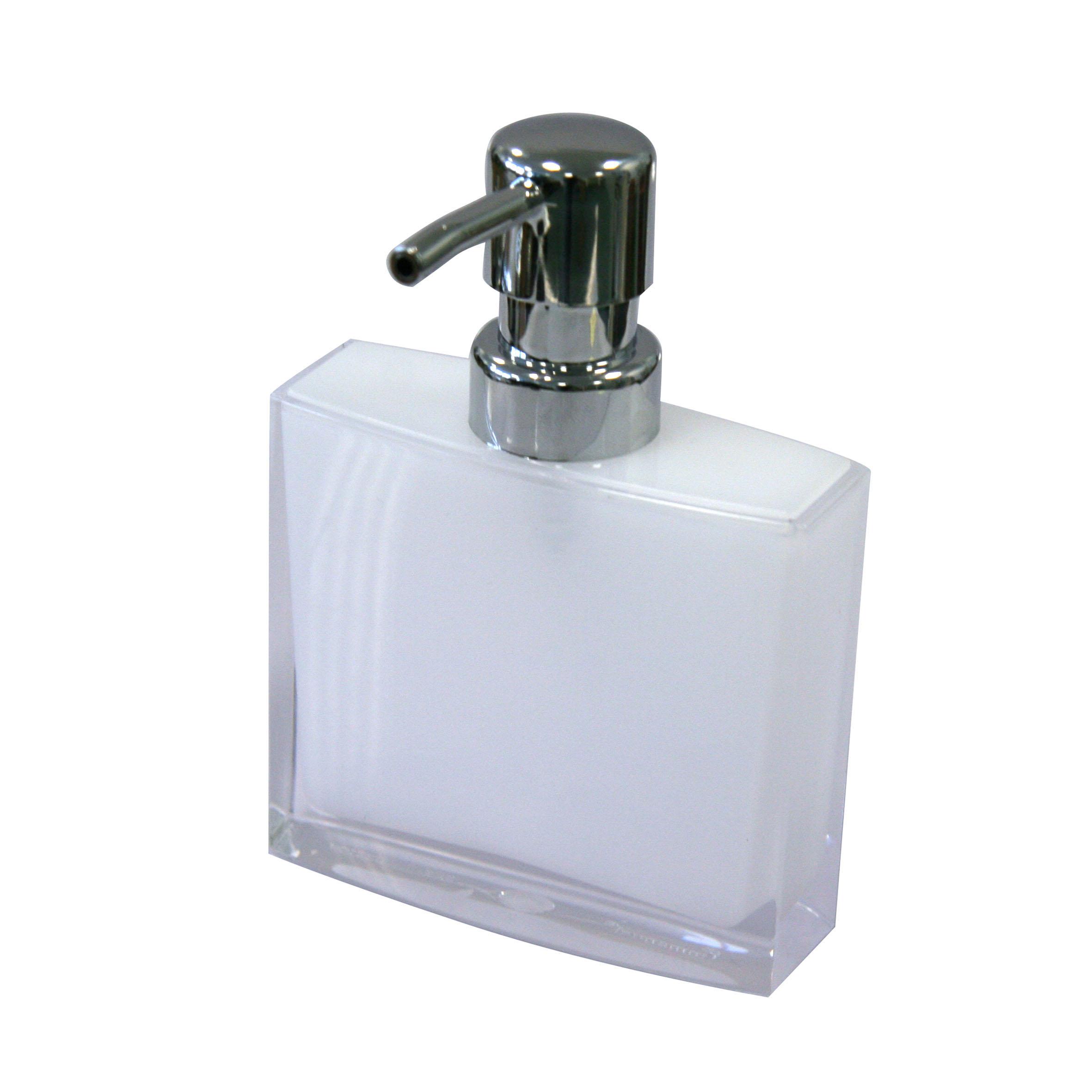 Дозатор для жидкого мыла Axentia Priamos, цвет: белый, хром282322Дозатор для жидкого мыла из коллекции Axentia PRIAMOS изготавливается из высококачественного акрила - долговечный, прочный и легкий в уходе материал прослужит вам долгие годы.