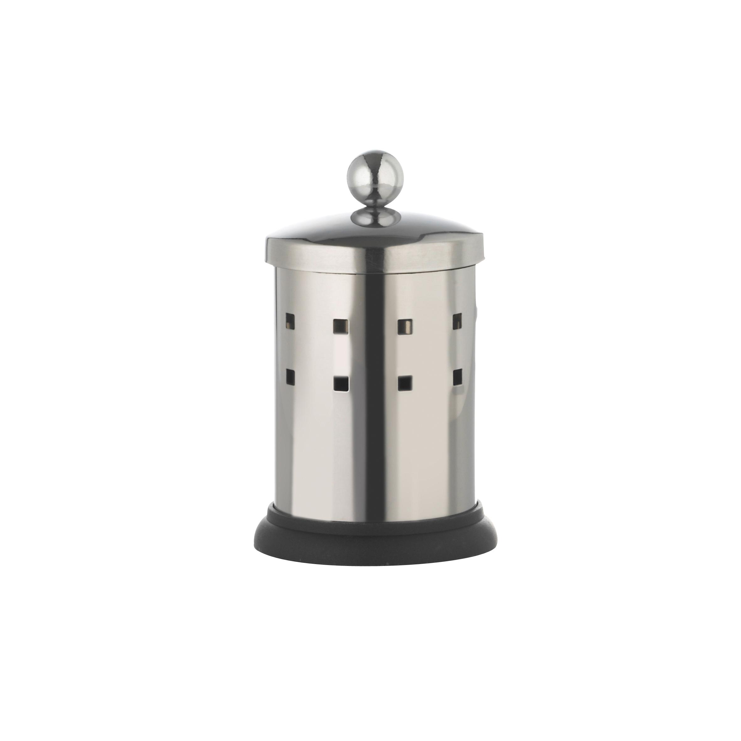 Емкость для хранения ватных палочек Axentia, с крышкой, высота 13 см282450Емкость Axentia, изготовленная из нержавеющей стали со специальной противоскользящей подставкой, предназначена для компактного хранения ватных палочек. Изделие оснащено крышкой. Емкость для хранения ватных палочек Axentia удобна в использовании и экономит место. Высота емкости: 13 см. Диаметр основания емкости: 7 см.