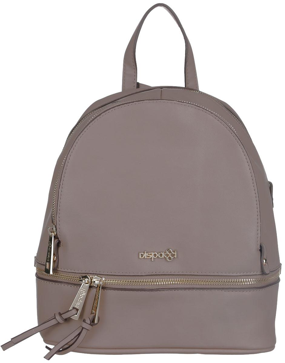 Рюкзак женский Dispacci, цвет: бежевый. 3197831978Компактный рюкзак Dispacci изготовлен из экокожи и оформлен металлической пластиной в виде логотипа бренда. Лицевая сторона рюкзака украшена декоративной молнией с двумя бегунками. Изделие содержит одно основное отделение, закрывающееся на застежку-молнию. Внутри расположены: накладной кармашек для мелочей и врезной карман на молнии. На лицевой стороне изделия расположен вместительный прорезной карман на молнии. Дно изделия дополнено металлическими ножками. Рюкзак оснащен двумя удобными лямками регулируемой длины и петлей для подвешивания. Стильный аксессуар позволит вам завершить образ и быть неотразимой.