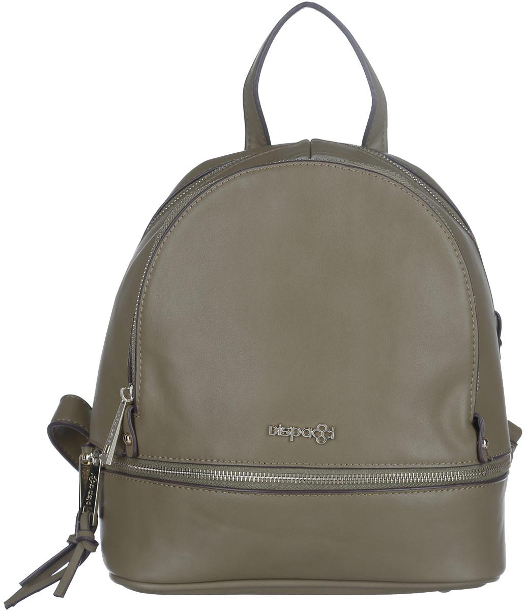 Рюкзак женский Dispacci, цвет: оливковый. 3197831978Компактный рюкзак Dispacci изготовлен из экокожи и оформлен металлической пластиной в виде логотипа бренда. Лицевая сторона рюкзака украшена декоративной молнией с двумя бегунками. Изделие содержит одно основное отделение, закрывающееся на застежку-молнию. Внутри расположены: накладной кармашек для мелочей и врезной карман на молнии. На лицевой стороне изделия расположен вместительный прорезной карман на молнии. Дно изделия дополнено металлическими ножками. Рюкзак оснащен двумя удобными лямками регулируемой длины и петлей для подвешивания. Стильный аксессуар позволит вам завершить образ и быть неотразимой.