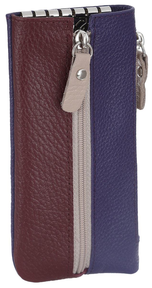 """Ключница женская Esse """"Грета Soft"""", цвет: фиолетовый, бордовый. GGRT00-00ML00-FB807O-K100"""