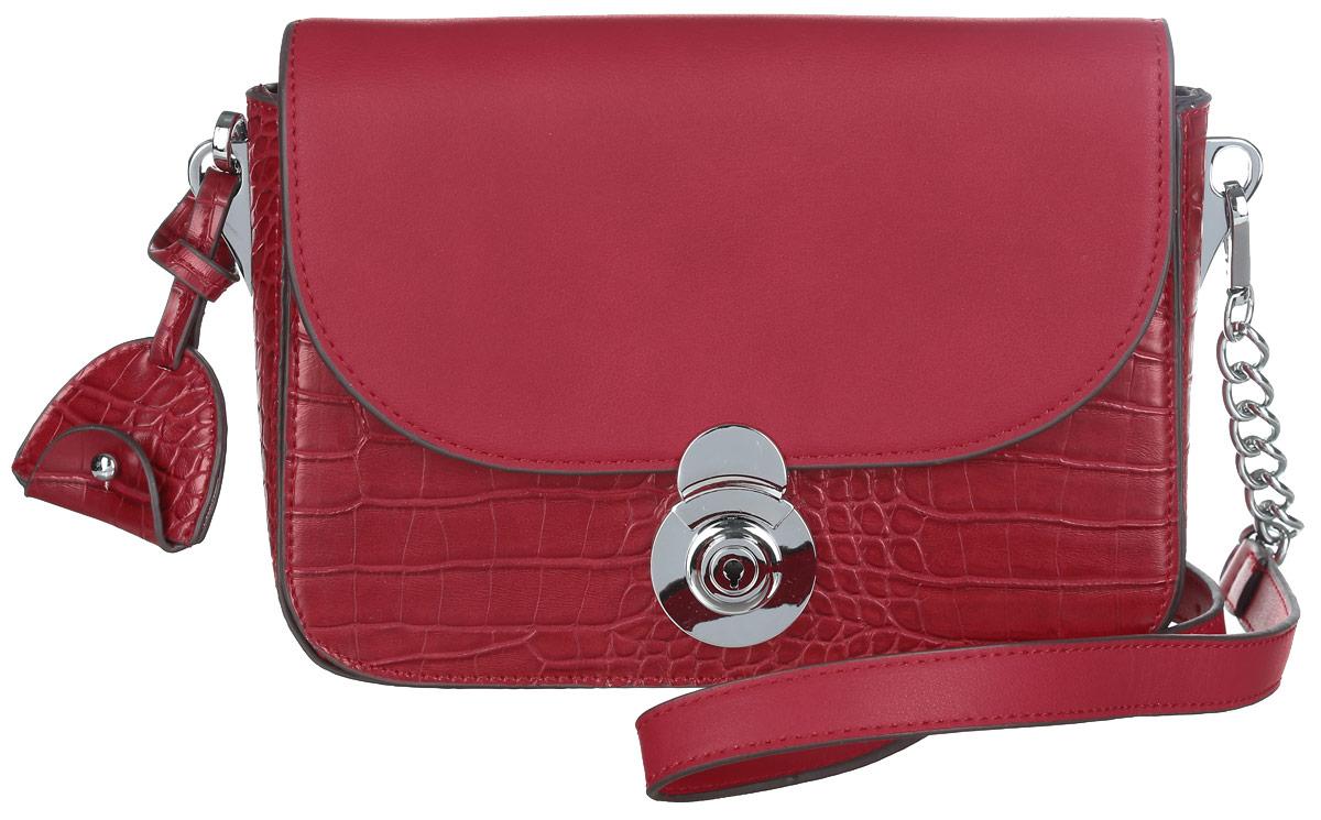 Сумка женская Dispacci, цвет: красный. 3197631976Стильная женская сумка Dispacci изготовлена из экокожи и оформлена под кожу рептилии. Сумка состоит из одного отделения, застёгивается на застёжку-молнию и дополнительно клапаном на оригинальную защелку. Сумка содержит врезной карман на молнии и два нашивных кармана для телефона и мелочей. Также под клапаном модель дополнена плоским карманом. Сумка оснащена съемным плечевым ремнем, регулируемой длины, основание которого украшено металлическими цепочками. Ремень также дополнен стильным брелоком. Прилагается текстильный фирменный чехол для хранения. Оригинальный аксессуар позволит вам завершить образ и быть неотразимой.