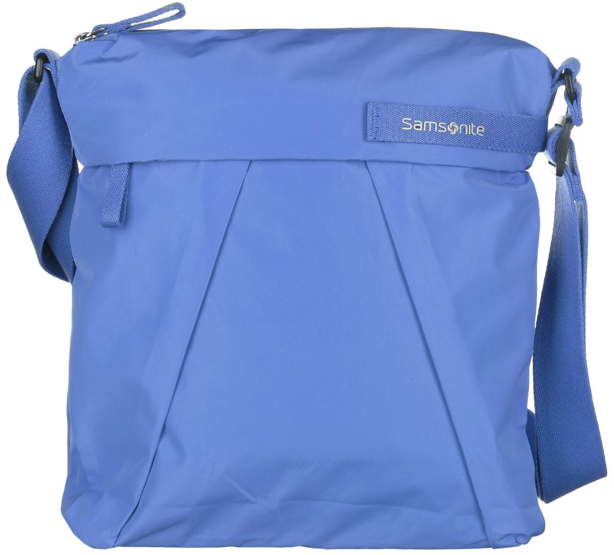 Сумка женская Samsonite, цвет: голубой. 51V-5100551V-51005Стильная и практичная женская сумка Samsonite выполнена из полиэстера, оформлена декоративными складками и логотипом бренда. Изделие состоит из одного отделения и закрывается на застежку-молнию. Внутри расположен врезной карман на молнии, нашивной карман и боковой открытый карман с уплотненной стенкой. Снаружи, на передней стенке расположен прорезной карман на молнии, а на задней стенке - прорезной кармана на липучке. Сумка оснащена несъёмным текстильным плечевым ремнем, регулируемой длины. Стильная сумка позволит вам завершить образ.