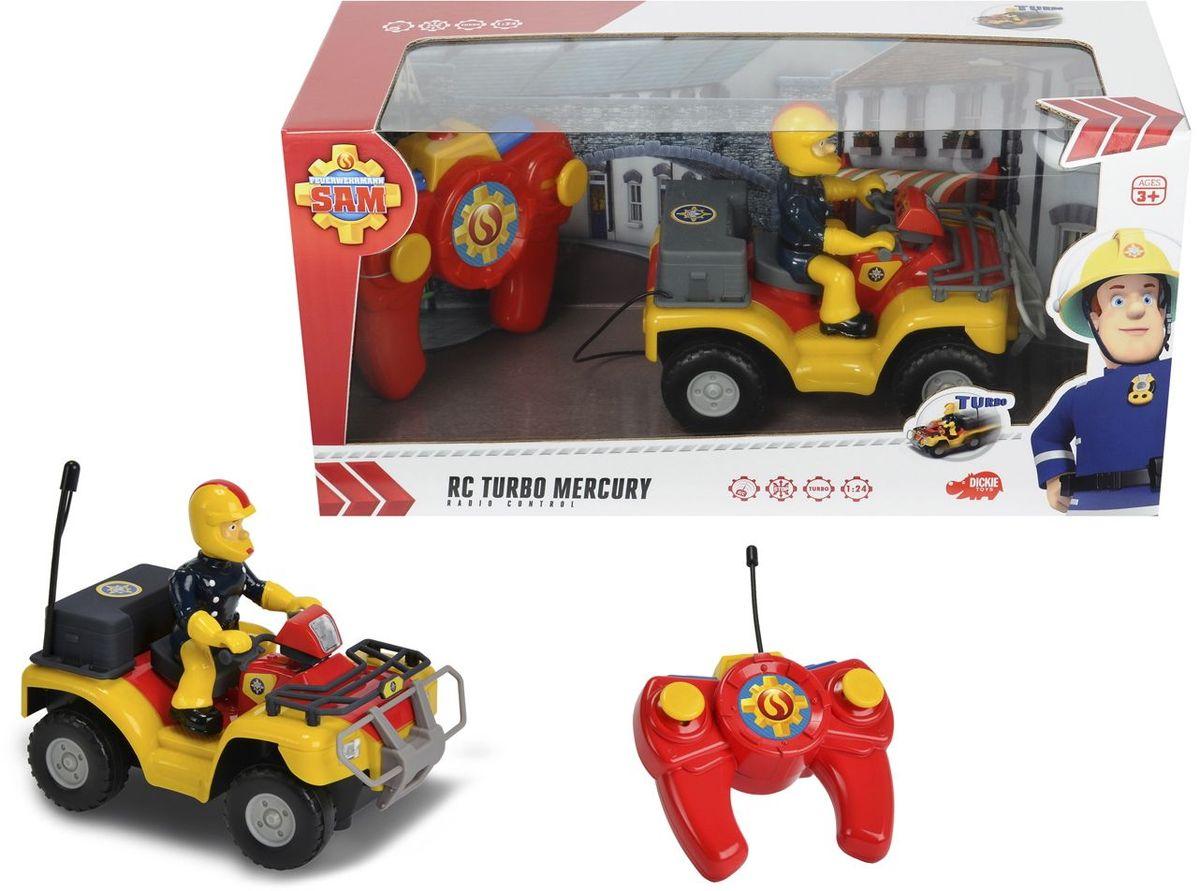 Dickie Toys Квадроцикл на радиоуправлении Пожарный Сэм3099613Пожарный квадроцикл Меркурий из мультфильма Пожарный Сэм на пульте радиоуправления. Автомобиль управляется во все стороны. Есть режим ускорения. Длина автомобиля 16 см. Масштаб 1:24. Для работы требуются батарейки 3x 1.5V LR03 (АА) и 3x 1.5V LR6 (ААА).
