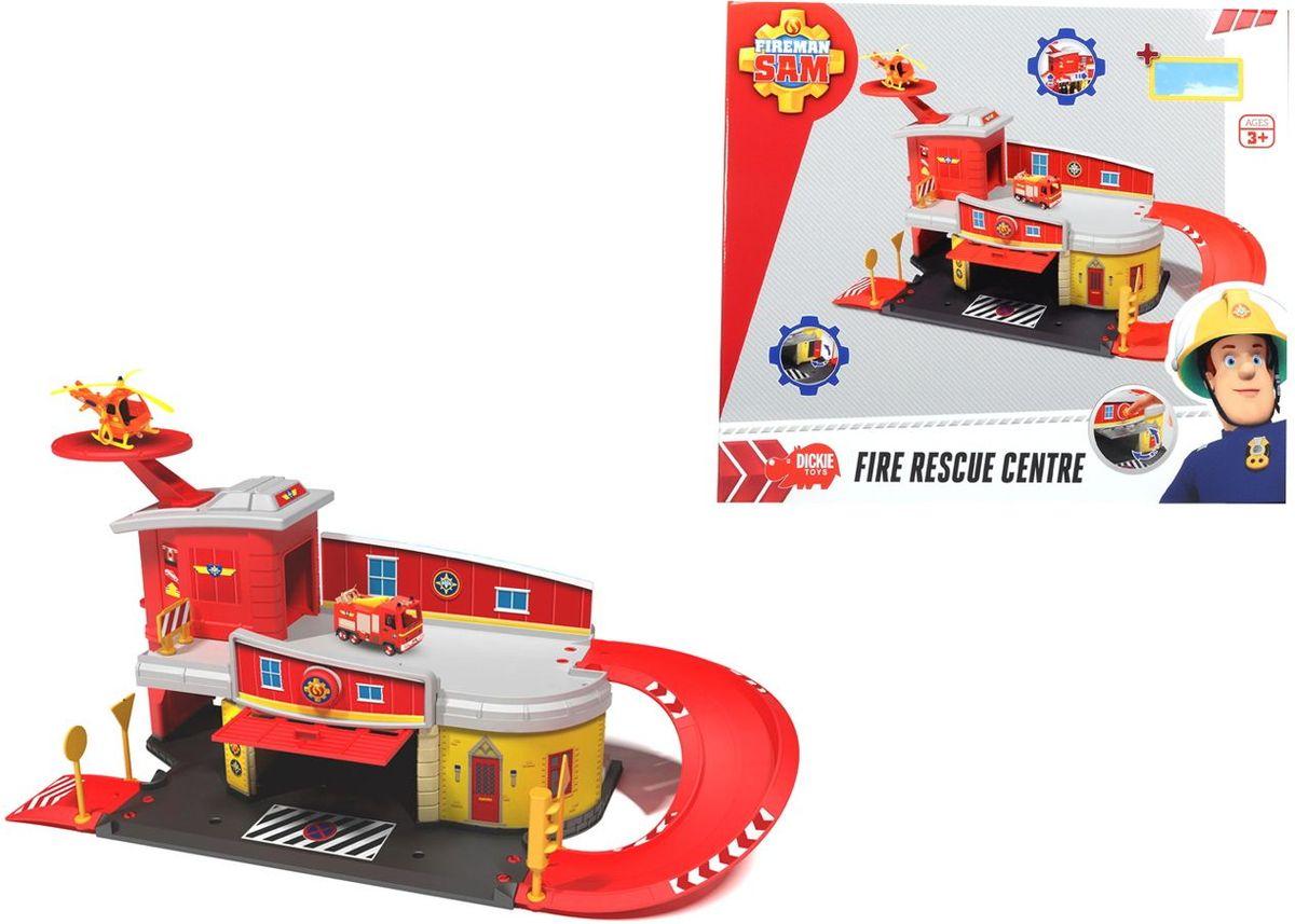 Dickie Toys Пожарный Сэм Пожарный гараж3099623Пожарная станция с вертолетной площадкой из мультфильма Пожарный Сэм. Станция состоит из двух этажей, дорожек, гаража с функцией запуска и вертолетной площадки. В набор входит вертолет, пожарная машина приобретается отдельно.