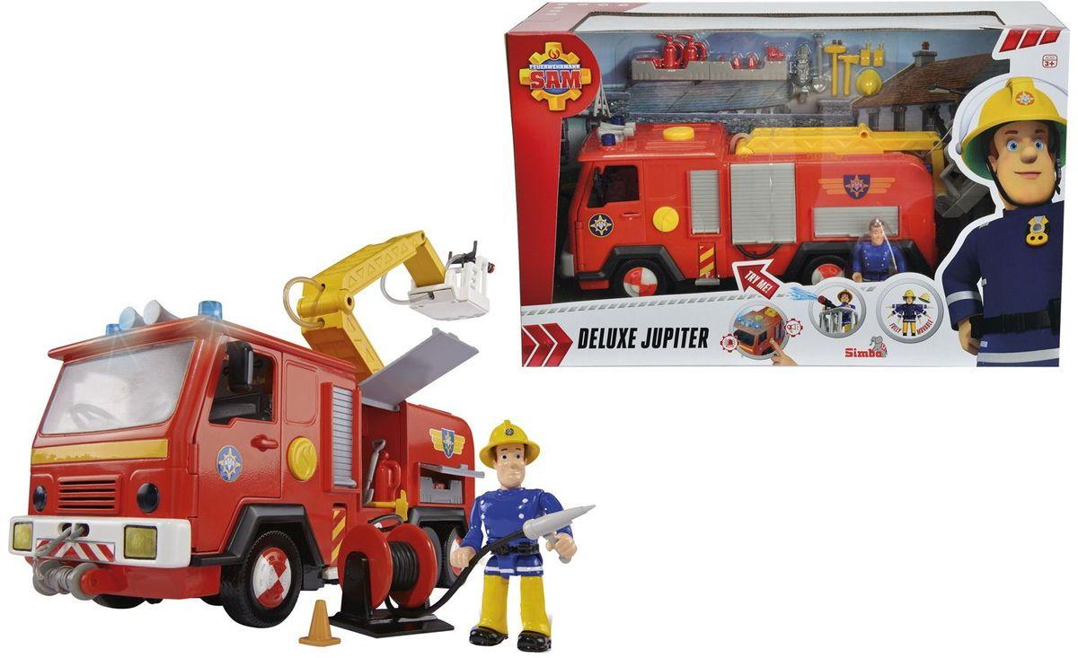 Simba Пожарный Сэм Машина9251063Главная пожарная машина из мультфильма Пожарный Сэм. Звук сирены и свет мигалок включаются нажатием одной кнопки. На подъемном механизме установлена водяная пушка, которая брызгает настоящей водой (вода заливается в специальный отсек). У машины открываются двери кабины и дверцы шкафчиков, в которых лежит пожарный инвентарь. Спереди машина оснащена лебедкой с крюком. В комплект так же входит фигурка пожарного Сэма. Требуются батарейки 3x 1,5V LR06 (АА), входят в комплект.
