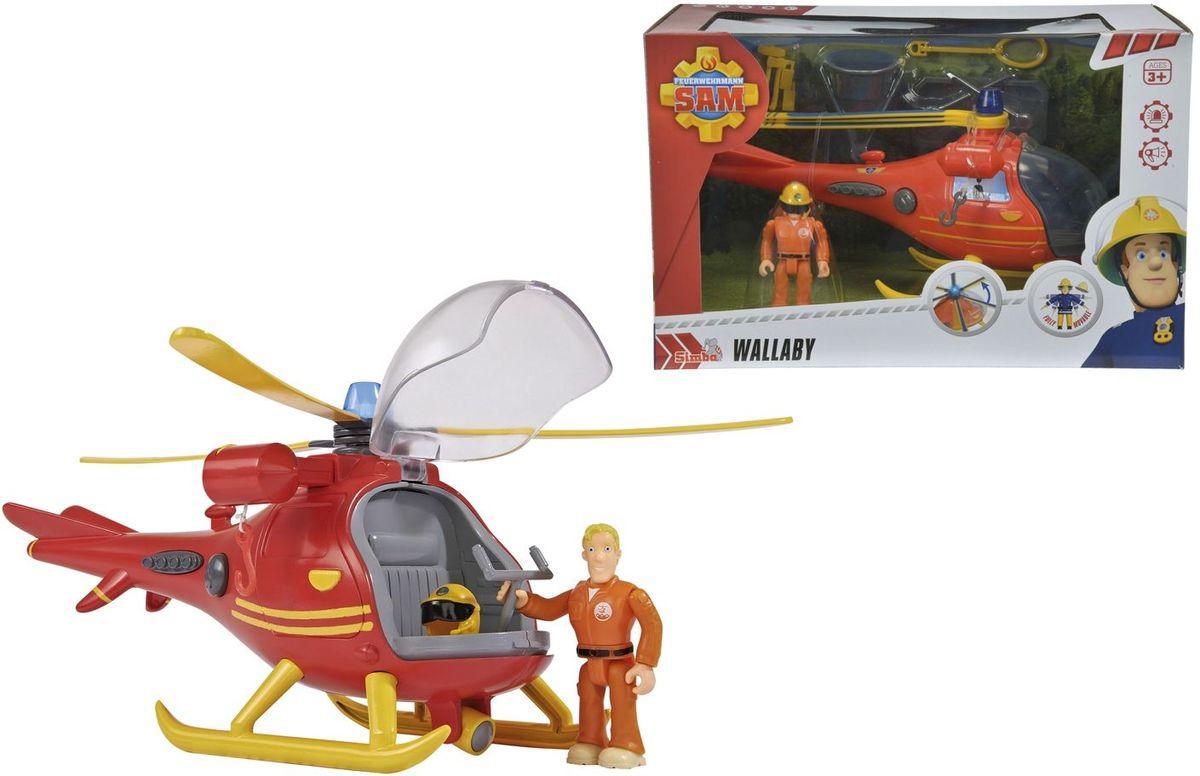Simba Пожарный Сэм Вертолет9251661Вертолет Кенгуру всегда приходит на помощь в сложных ситуациях. С помощью крюка и лебедки вертолет может перевозить носилки, ведро и петлю. Вертолет имеет световые и звуковые эффекты, а так же крутящиеся лопасти. В набор входит фигурка Тома Томаса. Требуются батарейки 3x 1,2V HR03 (ААА), входят в комплект.