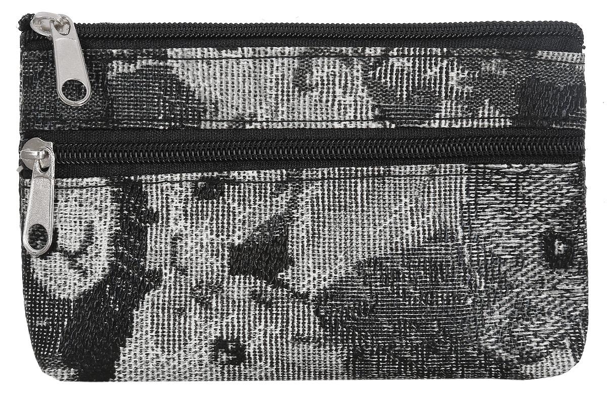 Кошелек женский Migura, цвет: черный, белый. BGS1152BGS1152Компактный женский кошелек Migura выполнен из полиэстера с подкладкой и оформлен оригинальным принтом. Изделие состоит из одного отделения и застегивается на застежку-молнию. Снаружи расположен дополнительный карман на молнии. Прилагается фирменный текстильный чехол для хранения. Необычный дизайн в сочетании с удобством делают этот аксессуар незаменимым.