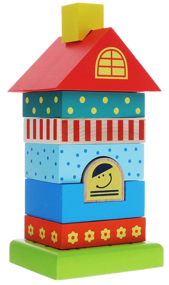 Alatoys Пирамидка Домик 8 элементовПДМ01Пирамидка Alatoys Домик - это замечательная деревянная игрушка, рекомендуемая детям в возрасте от 3 лет. Здоровье ребенка: Элементы пирамидки, изготовленные из натурального материала, абсолютно безопасны для здоровья малыша. Набор не содержит мелких деталей и частей, это свидетельствует о том, что игра с пирамидкой неопасна для ребенка. Развитие ребенка: В процессе сборки пирамидки у ребенка развиваются внимание, память, логика, мелкая моторика рук и воображение. Надежность игрушки: Очень важное достоинство этой пирамидки - ее долговечность. Ведь всем известно, что дерево - прочный материал, поэтому элементы набора ребенок не сломает и не разобьет. Интерес: Детали набора окрашены в яркие и привлекательные для малышей цвета, поэтому пирамидка станет одной из любимых игрушек ребенка. В набор входят 8 ярких элементов разного размера и формы. Нанизывая их на стержень, малыш соберет симпатичный домик.
