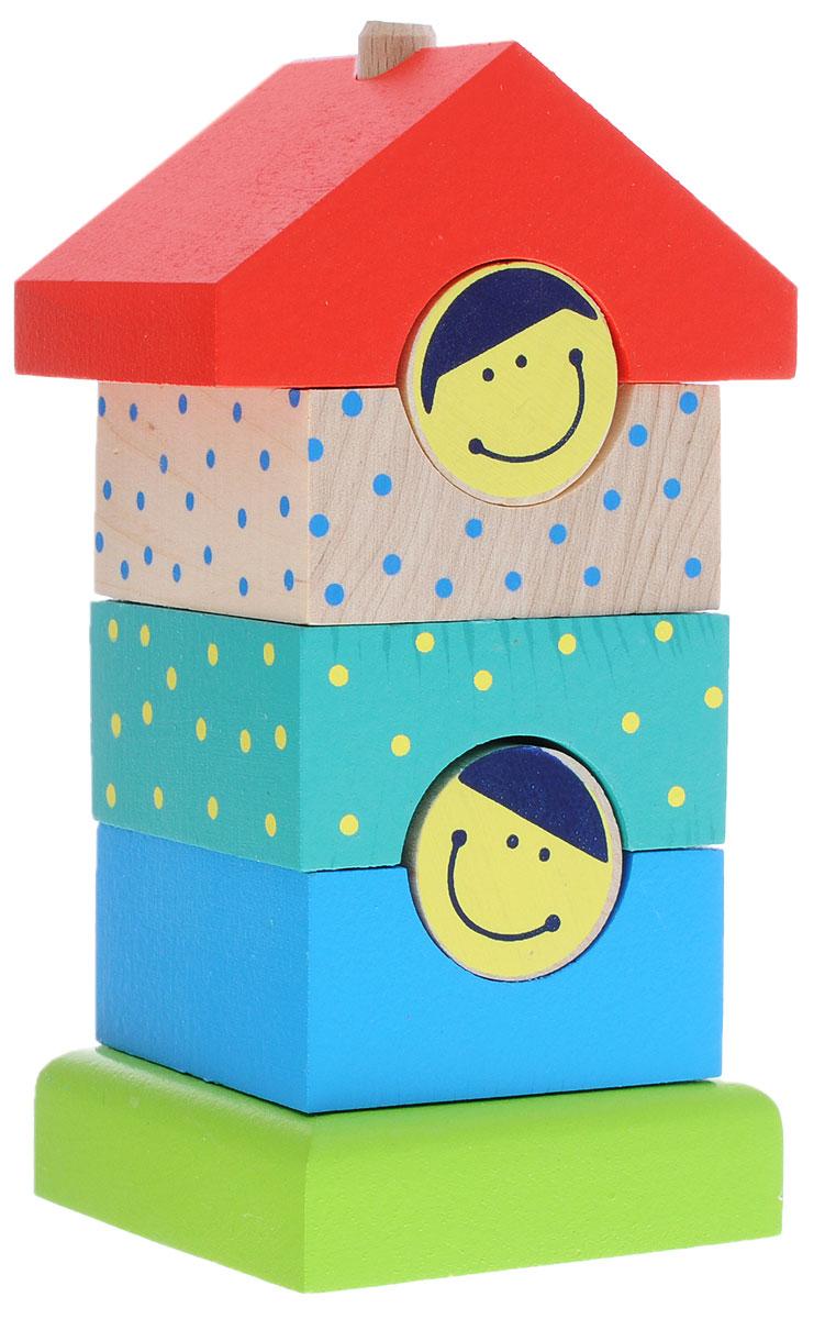 Alatoys Пирамидка Домик 7 элементовПДМ02Пирамидка Alatoys Домик - это замечательная деревянная игрушка, рекомендуемая детям в возрасте от 3 лет. Здоровье ребенка: Элементы пирамидки, изготовленные из натурального материала, абсолютно безопасны для здоровья малыша. Набор не содержит мелких деталей и частей, это свидетельствует о том, что игра с пирамидкой неопасна для ребенка. Развитие ребенка: В процессе сборки пирамидки у ребенка развиваются внимание, память, логика, мелкая моторика рук и воображение. Надежность игрушки: Очень важное достоинство этой пирамидки - ее долговечность. Ведь всем известно, что дерево - прочный материал, поэтому элементы набора ребенок не сломает и не разобьет. Интерес: Детали набора окрашены в яркие и привлекательные для малышей цвета, поэтому пирамидка станет одной из любимых игрушек ребенка. В набор входят 7 ярких элементов разного размера и формы. Нанизывая их на стержень, малыш соберет симпатичный домик.