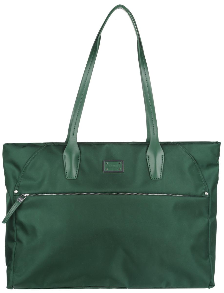 Сумка женская Samsonite, цвет: зеленый. 22D-1400922D-14009Стильная и практичная женская сумка Samsonite выполнена из полиамида с добавлением полиуретана, оформлена пластиной логотипа бренда. Изделие состоит из одного отделения и закрывается на застежку-молнию. Внутри расположен врезной карман на молнии, два нашивных кармана для телефона и мелочей, а также боковой открытый карман с уплотненной стенкой. Снаружи, на передней стенке расположен прорезной карман на молнии, а на задней стенке - прорезной карман на липучке. Сумка оснащена двумя удобными ручками для переноски в руке. Стильная сумка позволит вам завершить образ.