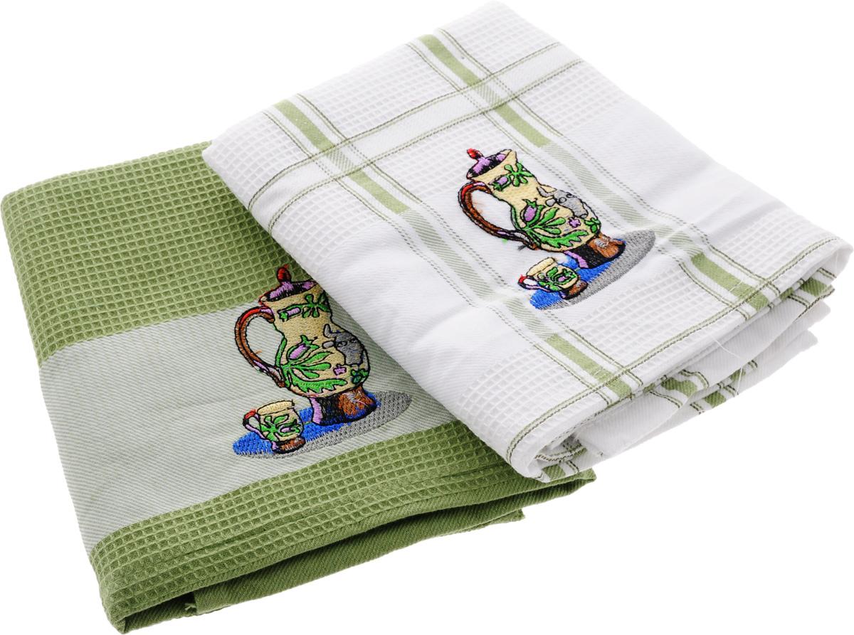 Набор кухонных полотенец Soavita Дуэт, цвет: белый, оливковый, 43 х 68 см, 2 шт. 4283542835Набор Soavita Дуэт состоит из двух полотенец, выполненных из 100% хлопка. Изделия предназначены для использования на кухне и в столовой. Набор полотенец Soavita Дуэт - отличное приобретение для каждой хозяйки. Комплектация: 2 шт.