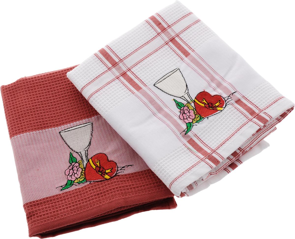 Набор кухонных полотенец Soavita Дуэт, цвет: красный, белый, 43 х 68 см, 2 шт. 4283442834Набор Soavita Дуэт состоит из двух полотенец, выполненных из 100% хлопка. Изделия предназначены для использования на кухне и в столовой. Набор полотенец Soavita Дуэт - отличное приобретение для каждой хозяйки. Комплектация: 2 шт.