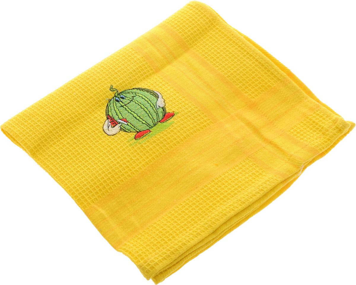Полотенце кухонное Soavita Виола, цвет: желтый, зеленый, 50 х 70 см42816Кухонное полотенце Soavita Виола, выполненное из 100% хлопка, оформлено вышитым рисунком в виде арбуза. Изделие предназначено для использования на кухне и в столовой. Такое полотенце станет отличным вариантом для практичной и современной хозяйки. Рекомендуется стирка при температуре 40°C.