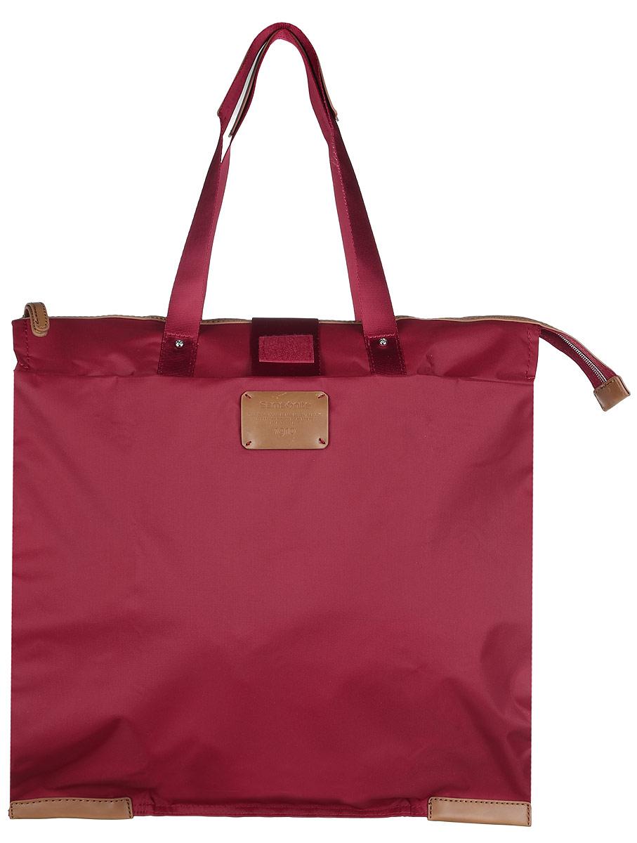 Сумка складная Samsonite, цвет: красный. 52V-2000252V-20002Складная женская сумка Samsonite выполнена из полиамида с добавлением полиуретана и оформлена контрастными вставками и нашивкой логотипа бренда. Изделие содержит одно вместительное отделение, закрывающееся на застежку-молнию. На внешней стороне сумки есть прорезной открытый карман. Сумка оснащена удобными ручками, высота которых позволяет носить сумку как в руке, так и на плече. Сумка не имеет жесткой структуры, за счет чего быстро складывается и фиксируется хлястиком с липучкой и не занимает много места. Такая сумка будет удобна в хранении и в использовании.
