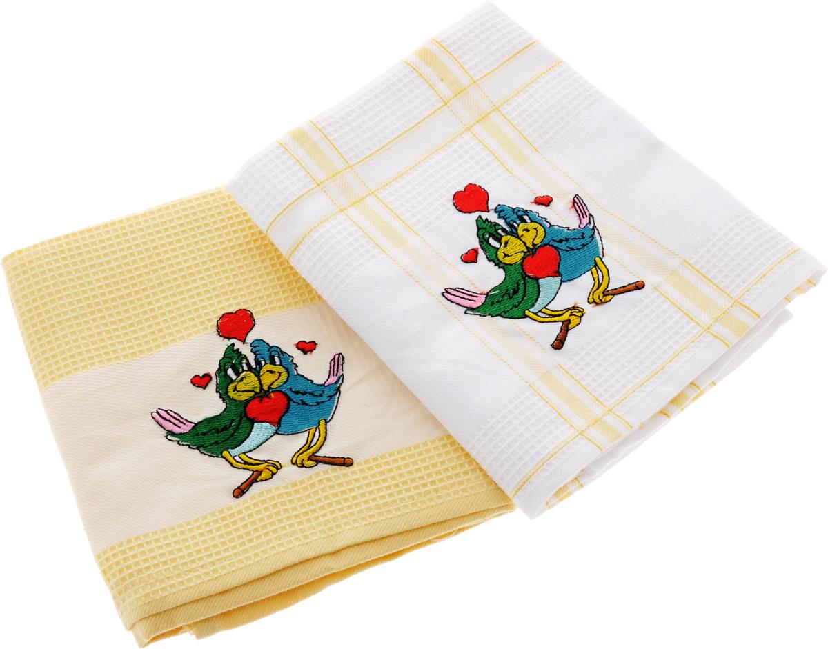 Набор кухонных полотенец Soavita Подарочное, цвет: желтый, белый, 43 х 68 см, 2 шт. 4548945489Набор Soavita Подарочное состоит из двух полотенец, выполненных из 100% хлопка. Изделия предназначены для использования на кухне и в столовой. Набор полотенец Soavita Подарочное - отличное приобретение для каждой хозяйки. Комплектация: 2 шт.