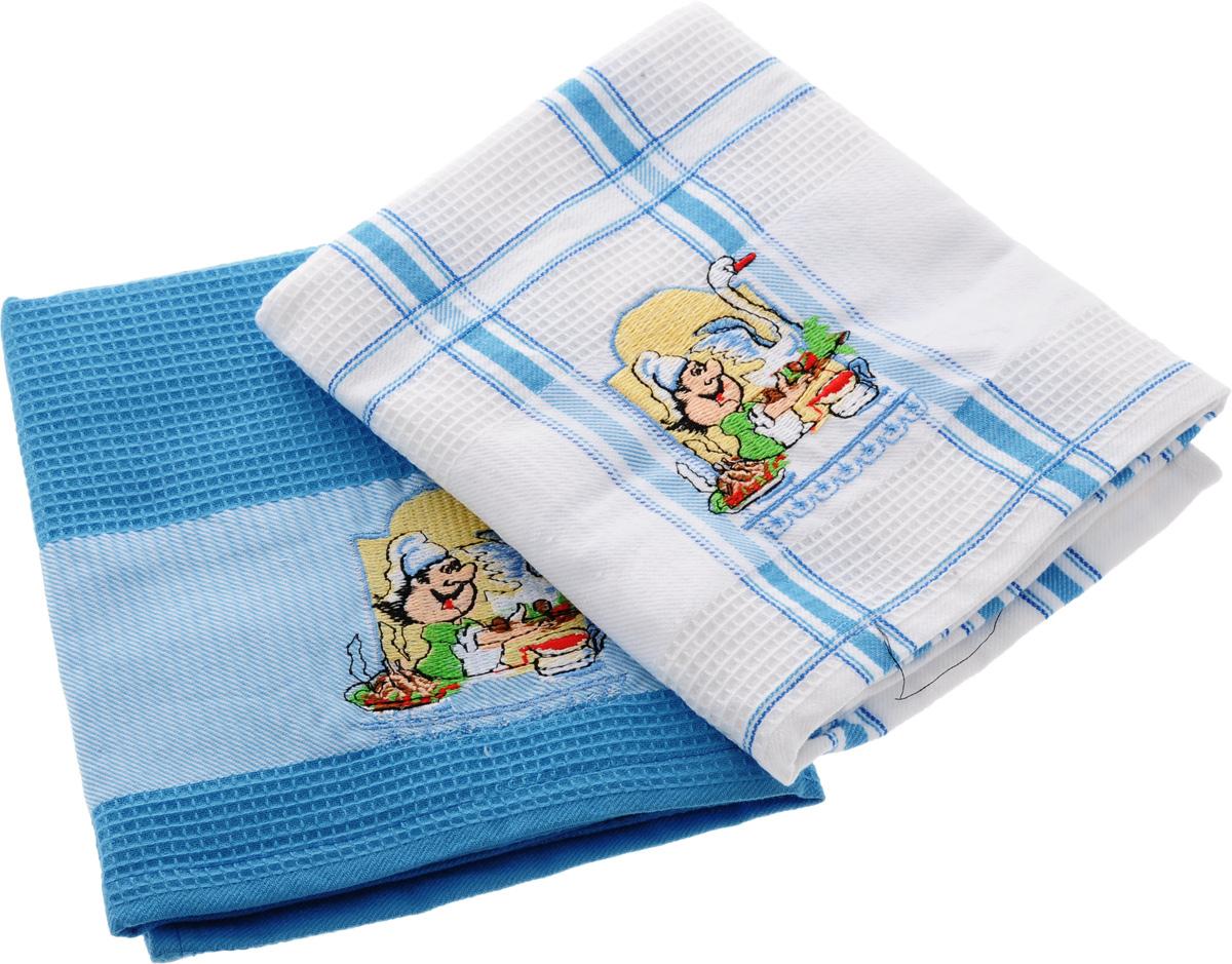 Набор кухонных полотенец Soavita Повар, цвет: белый, голубой, 45 х 70 см, 2 шт. 4777647776Набор Soavita Повар состоит из двух полотенец, выполненных из 100% хлопка. Изделия предназначены для использования на кухне и в столовой. Набор полотенец Soavita Повар - отличное приобретение для каждой хозяйки. Комплектация: 2 шт.